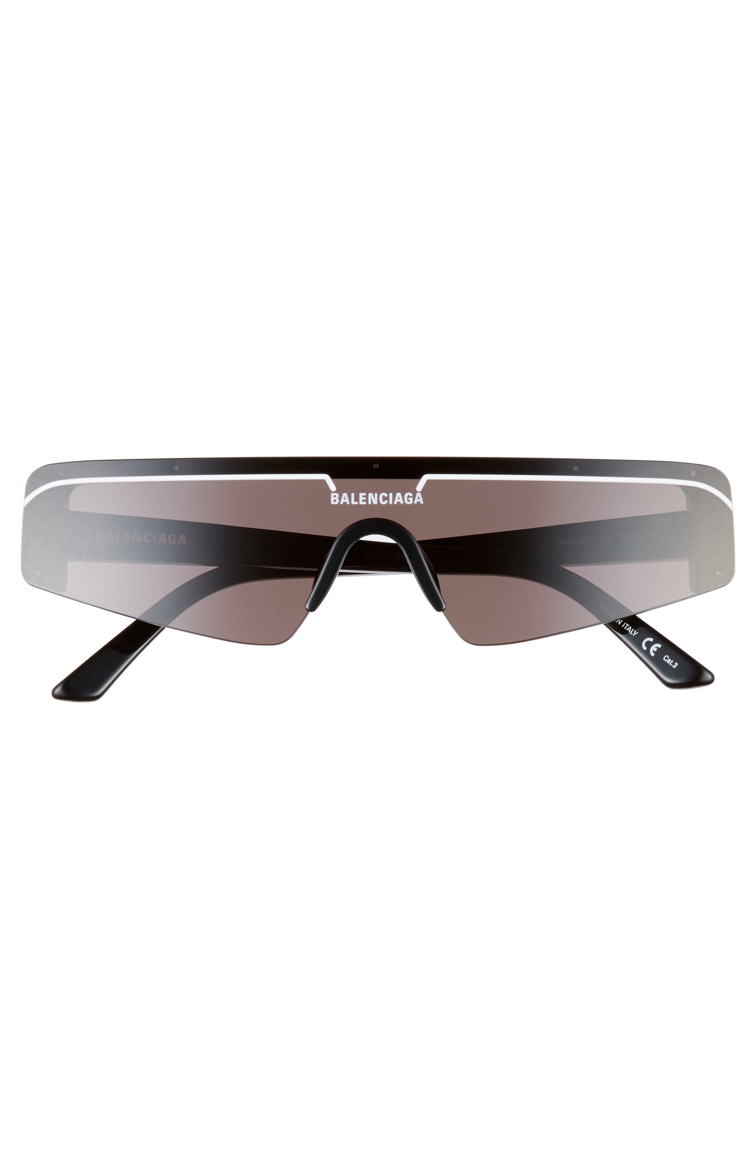 BALENCIAGA, 99mm Shield Sunglasses, Alternate thumbnail 3, color, SHINY BLACK/ GREY