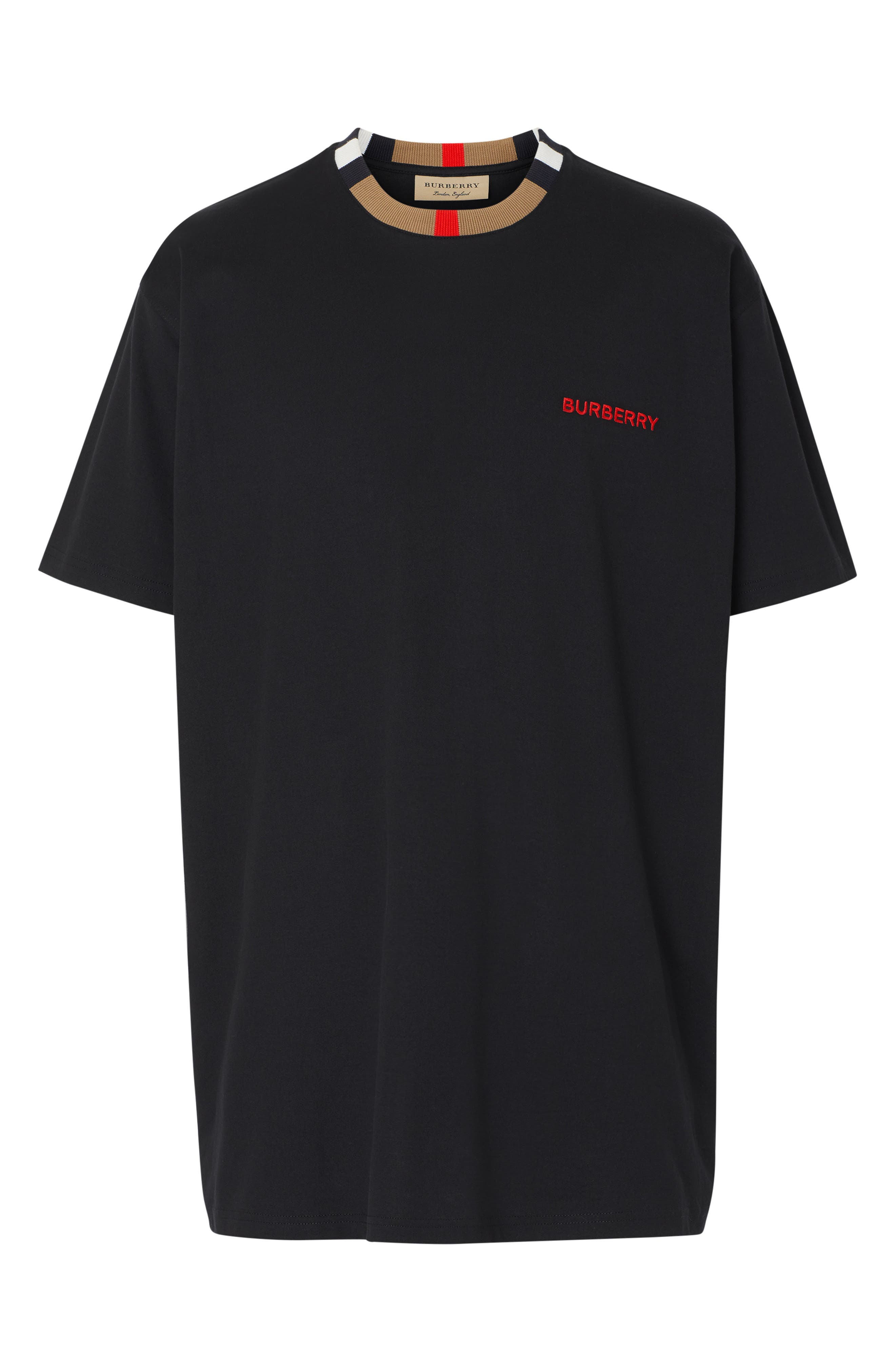 BURBERRY, Jayson Icon Stripe T-Shirt, Alternate thumbnail 5, color, BLACK