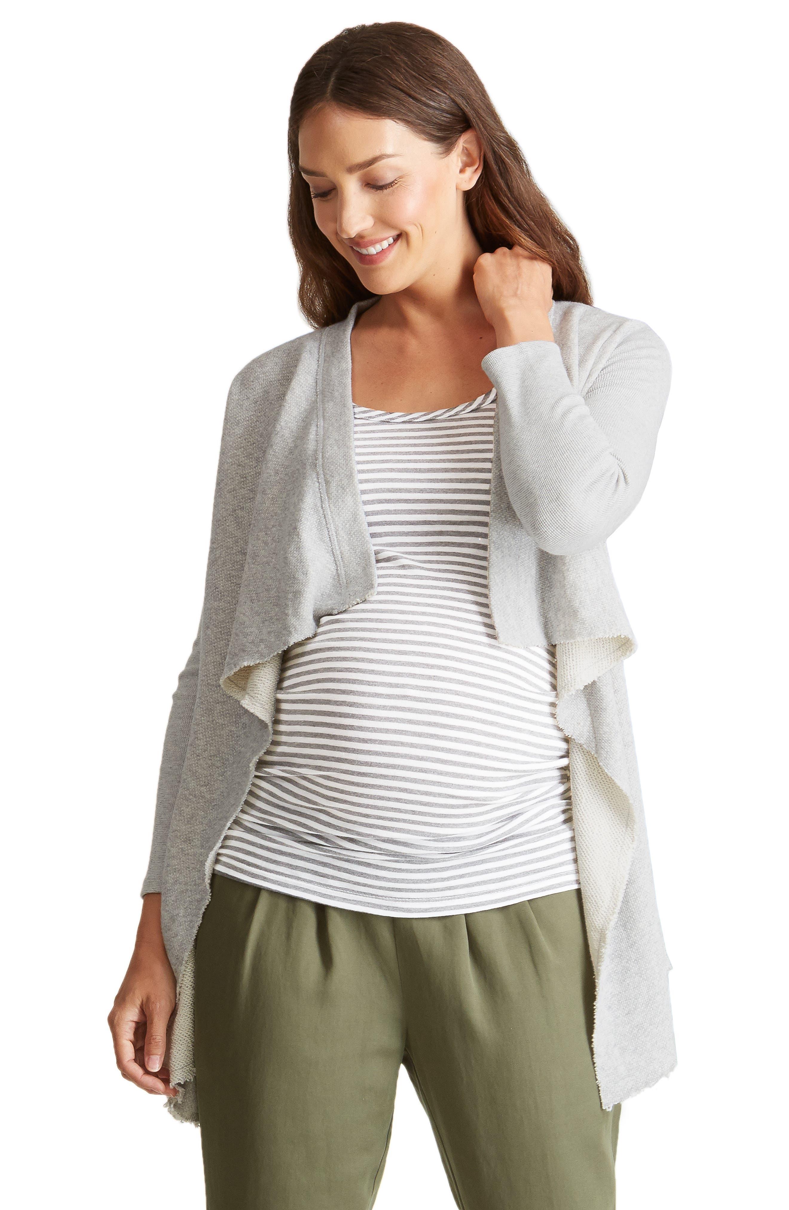 INGRID & ISABEL<SUP>®</SUP>, Drape Front Maternity Cardigan, Alternate thumbnail 4, color, 050