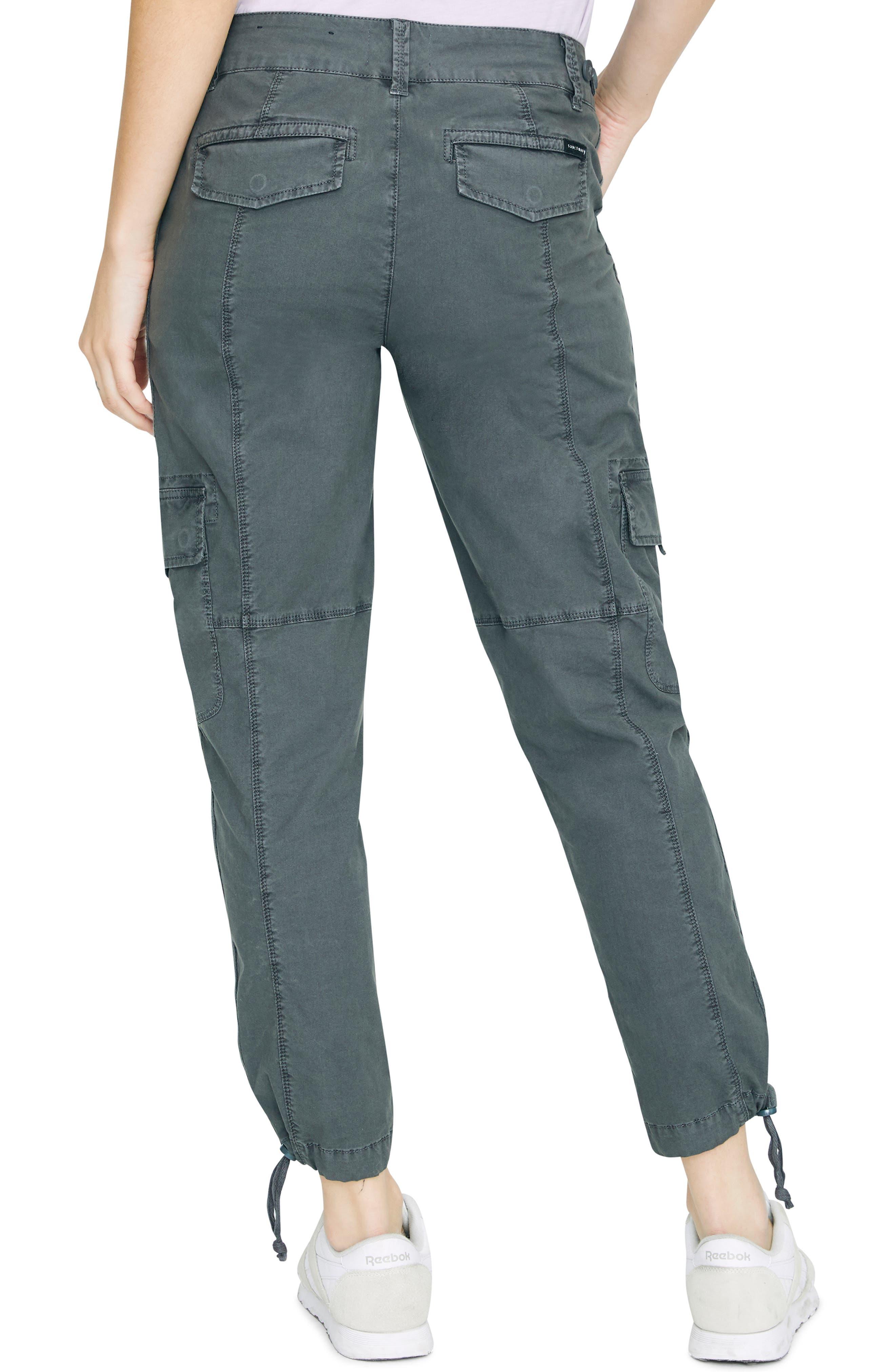 SANCTUARY, Terrain Crop Cargo Pants, Alternate thumbnail 2, color, WASHED FADED BLACK