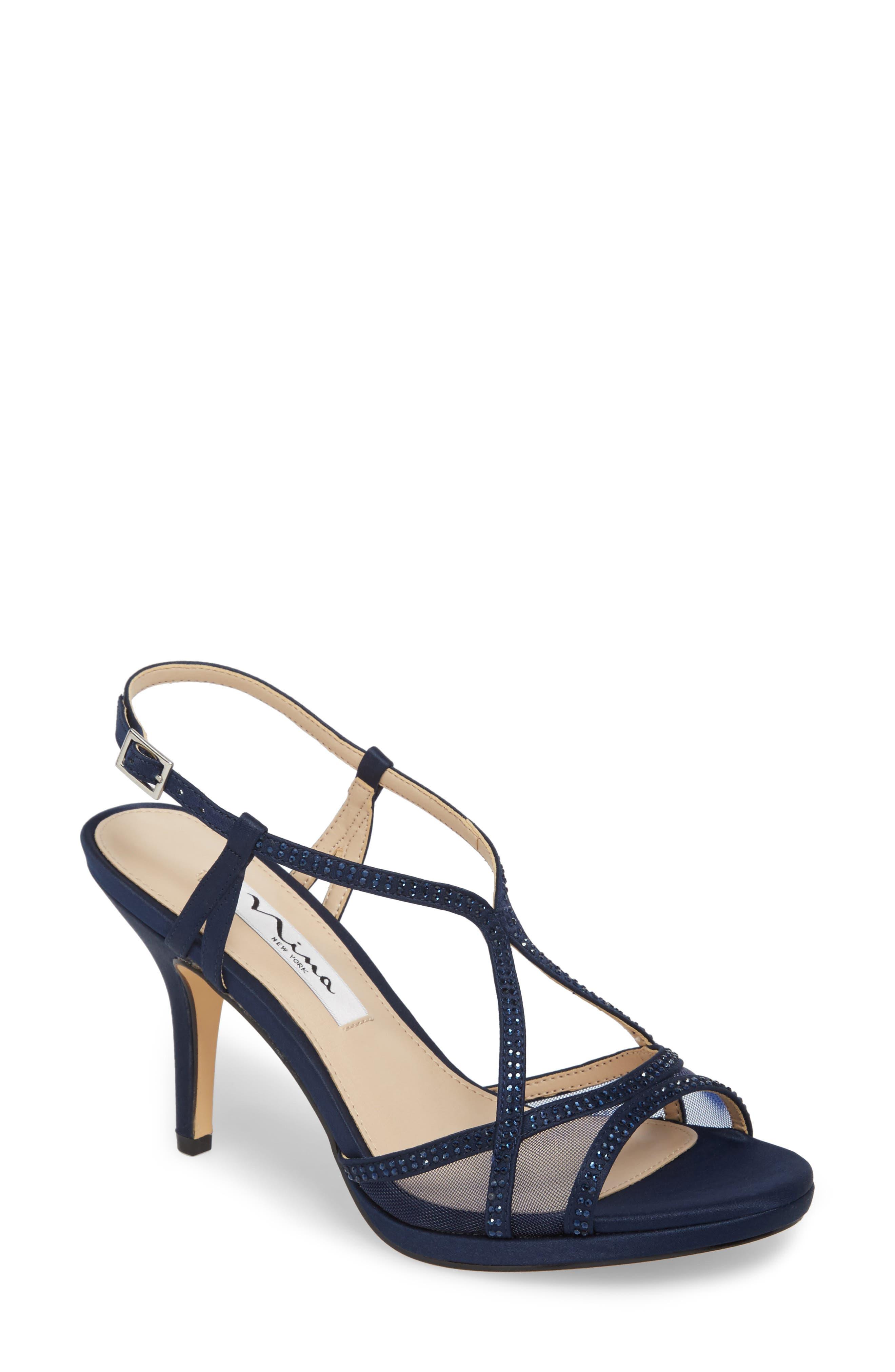 Nina Blossom Crystal Embellished Sandal- Blue
