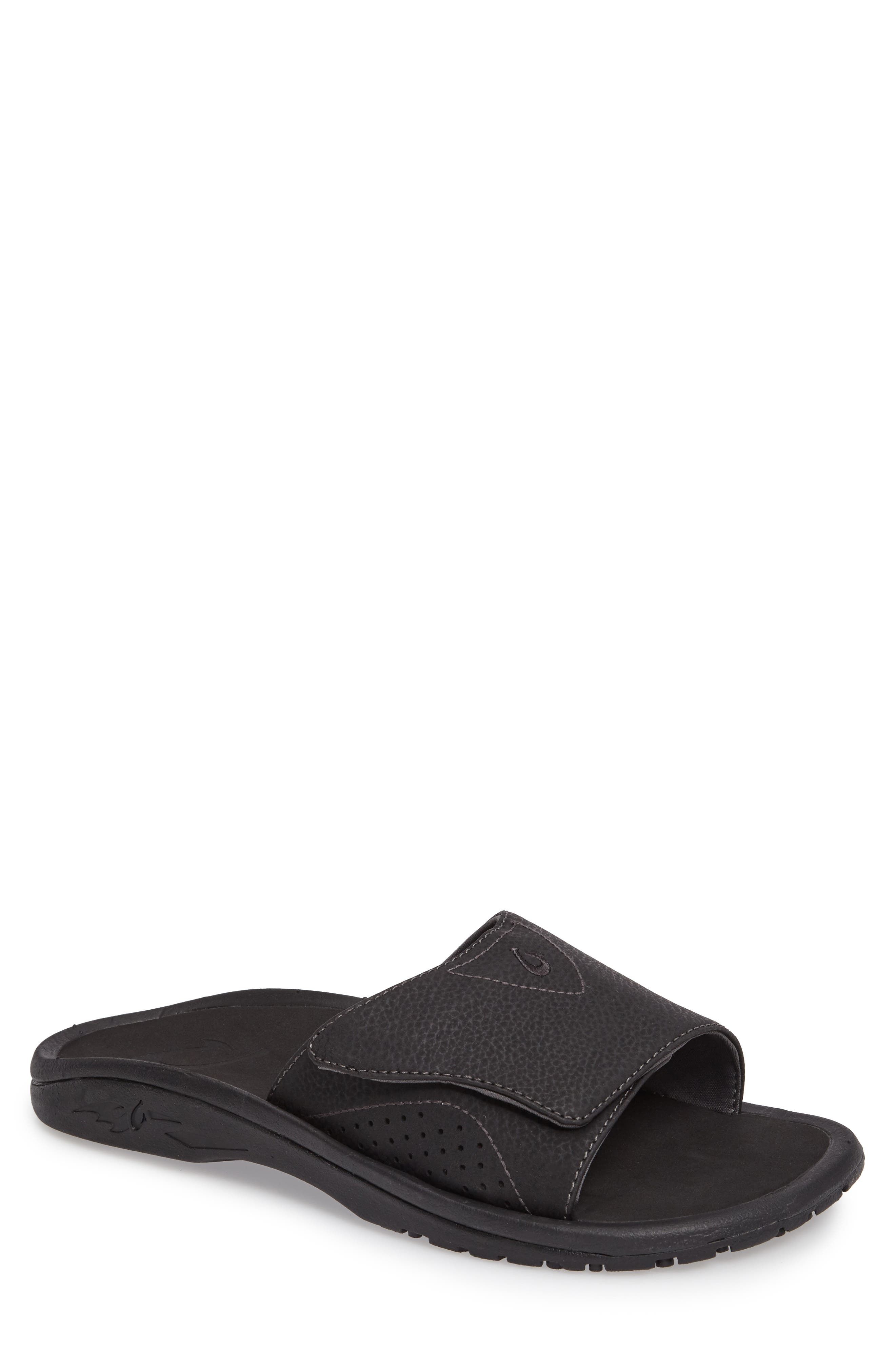 OLUKAI, Nalu Slide Sandal, Main thumbnail 1, color, BLACK/ BLACK