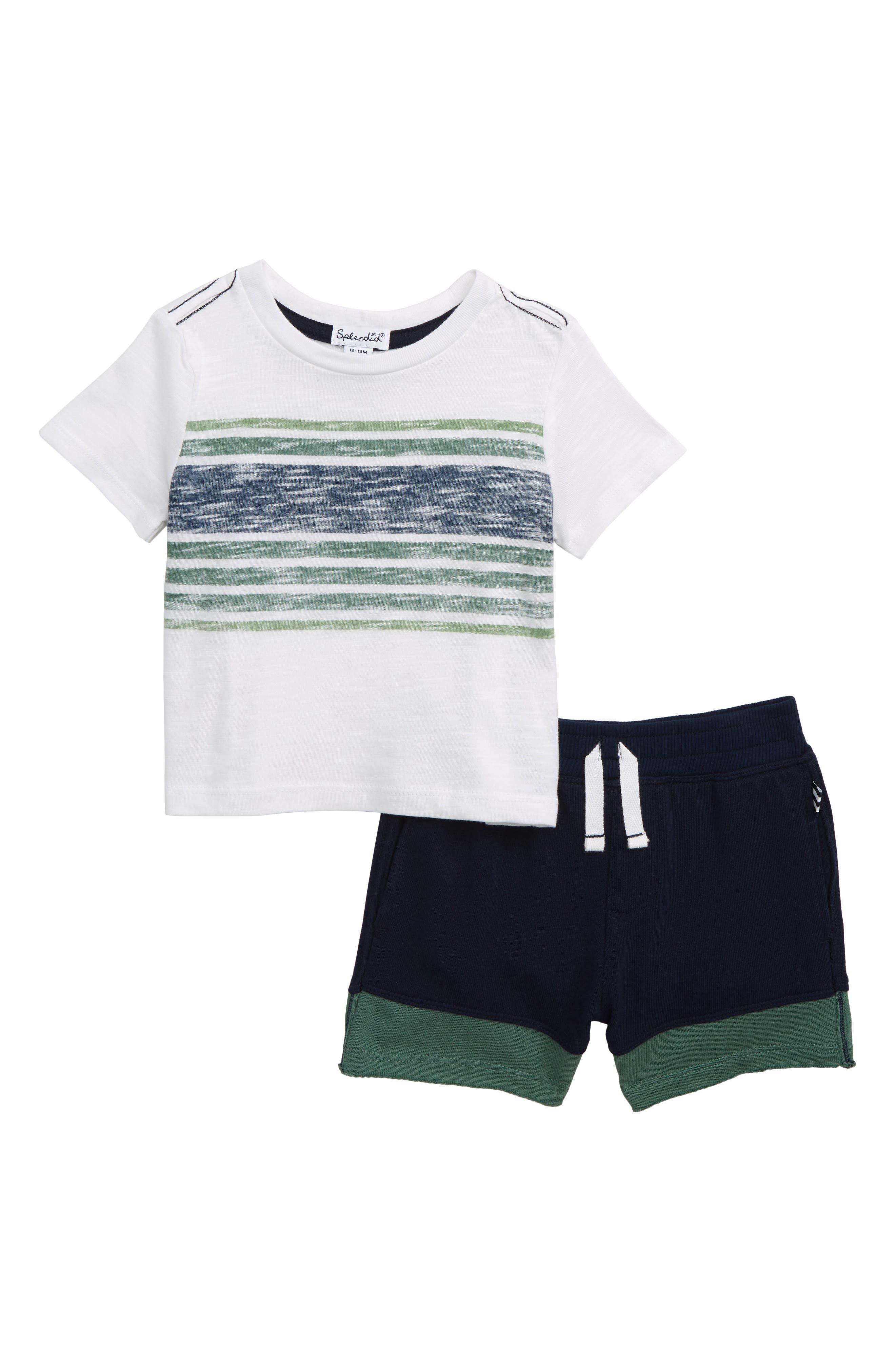SPLENDID, Reverse Stripe T-Shirt & Shorts Set, Main thumbnail 1, color, WHITE VERANDA