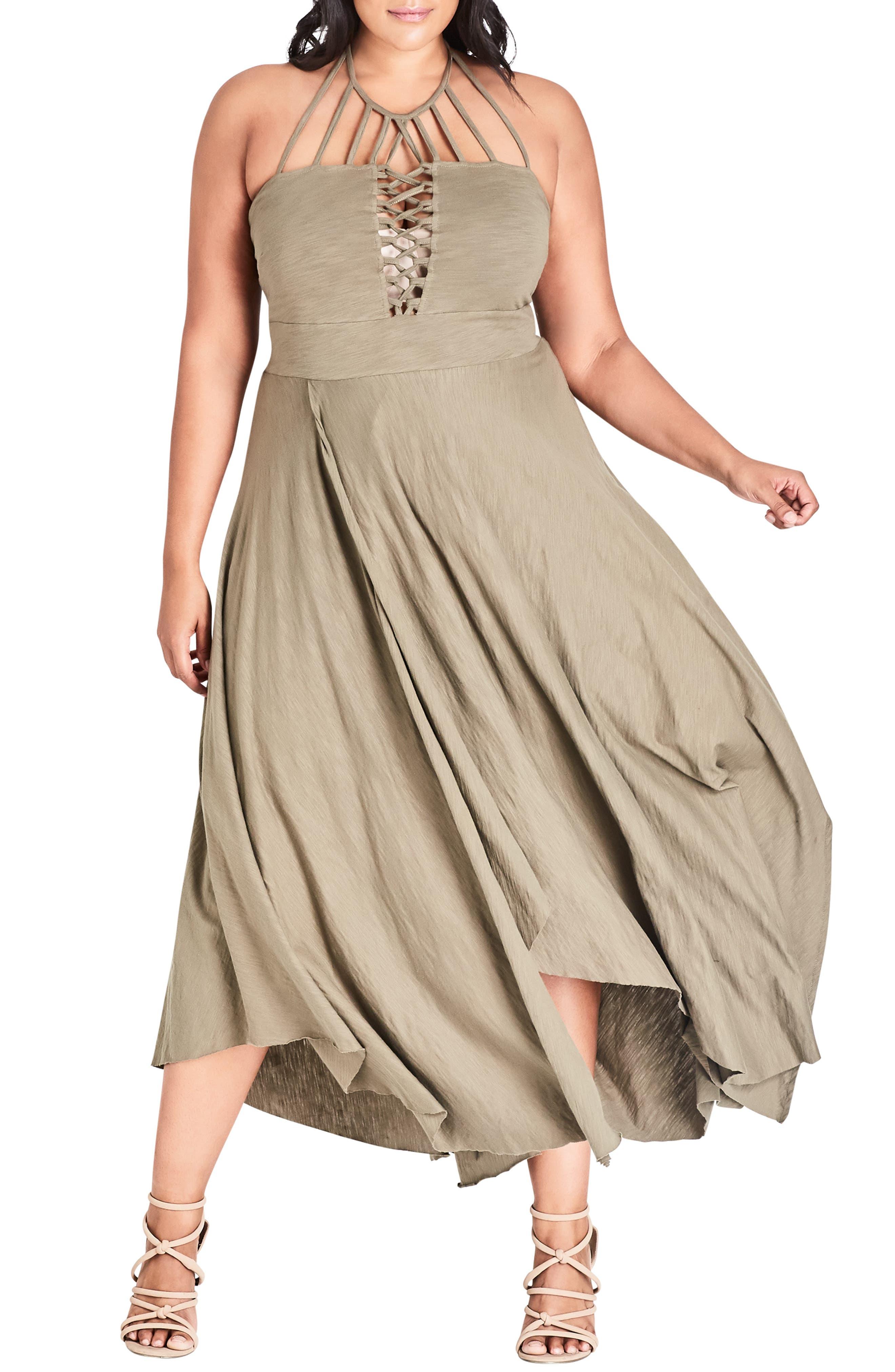 CITY CHIC Strappy Asymmetrical Faux Wrap Halter Maxi Dress, Main, color, KHAKI
