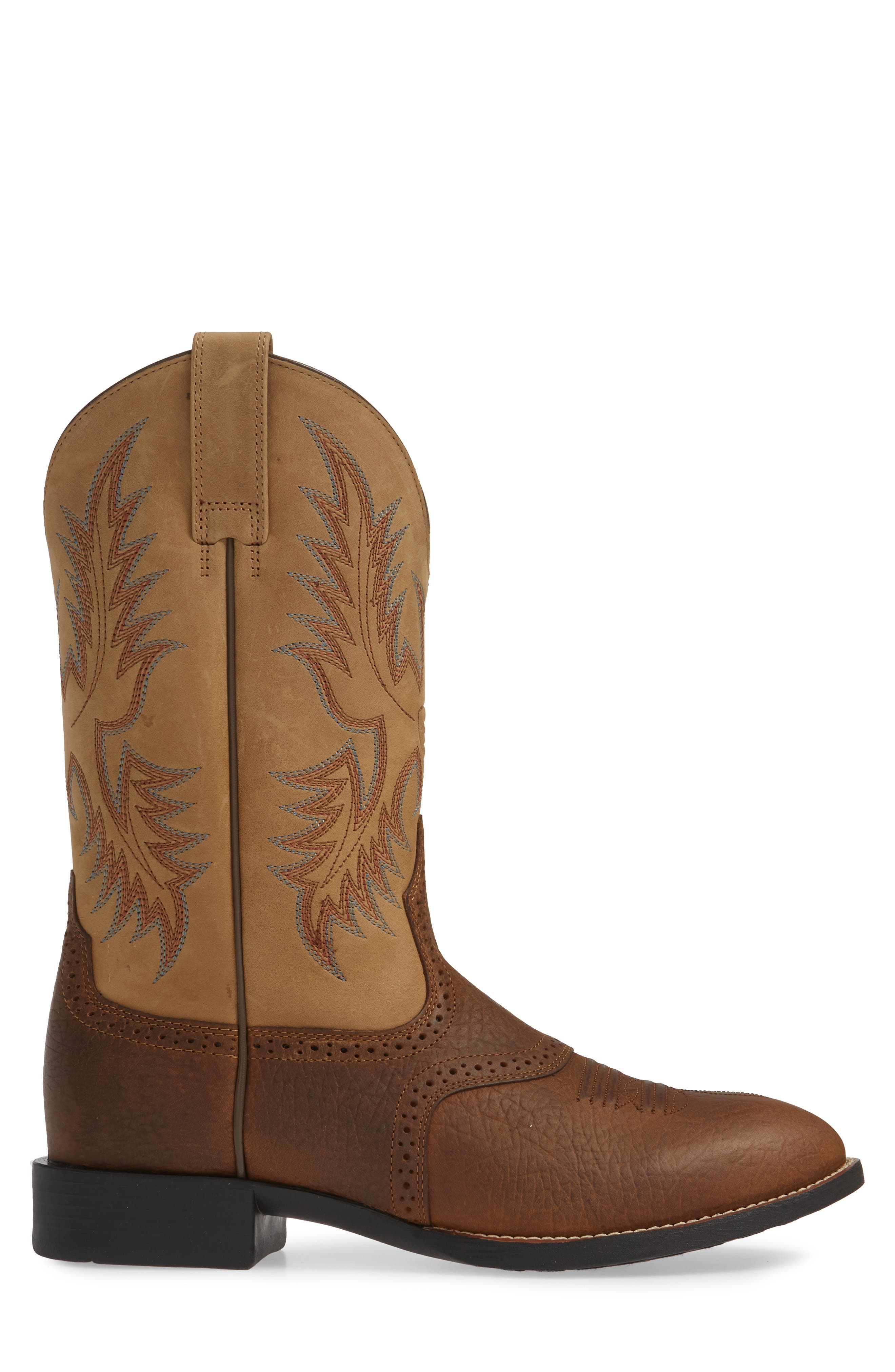 ARIAT, Heritage Stockman Cowboy Boot, Alternate thumbnail 3, color, BROWN/ BEIGE LEATHER