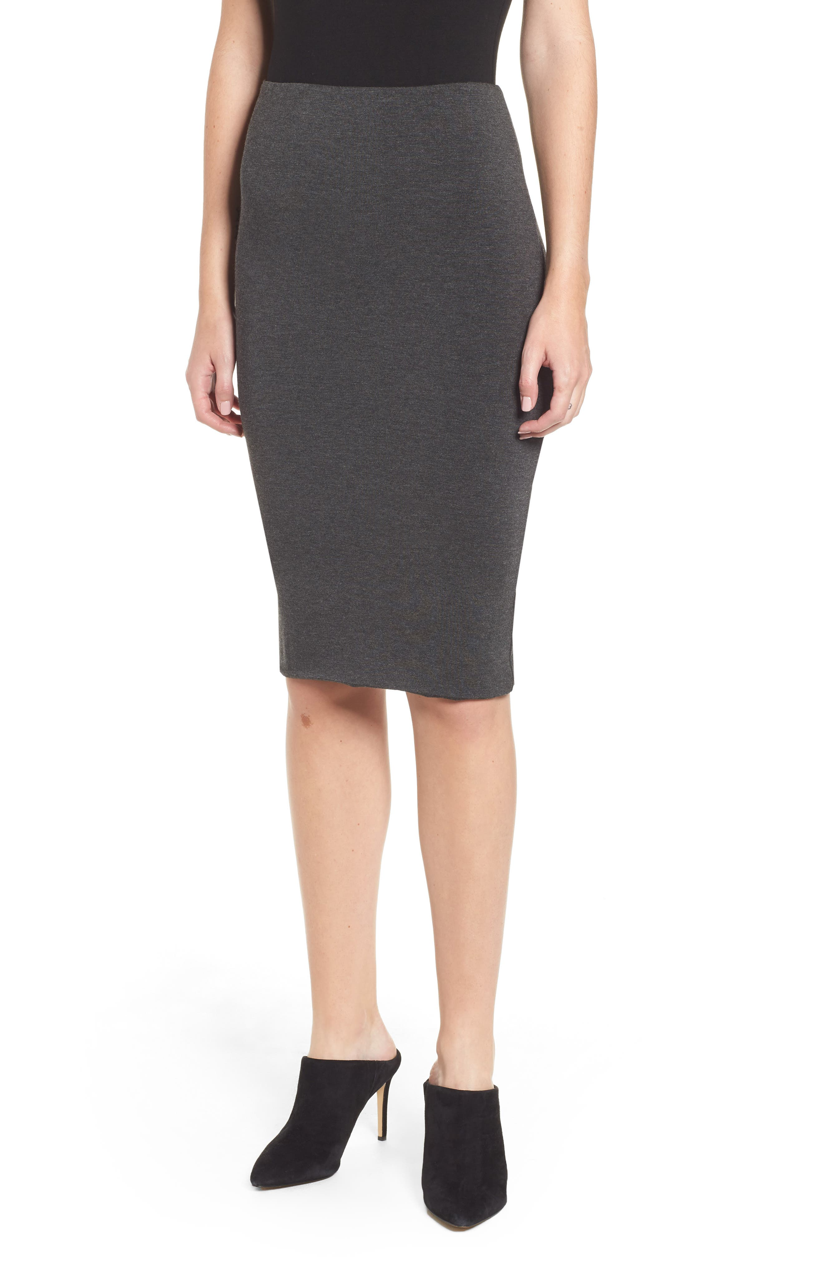 AMOUR VERT, 'Yuma' Stretch Knit Skirt, Main thumbnail 1, color, ANTHRACITE