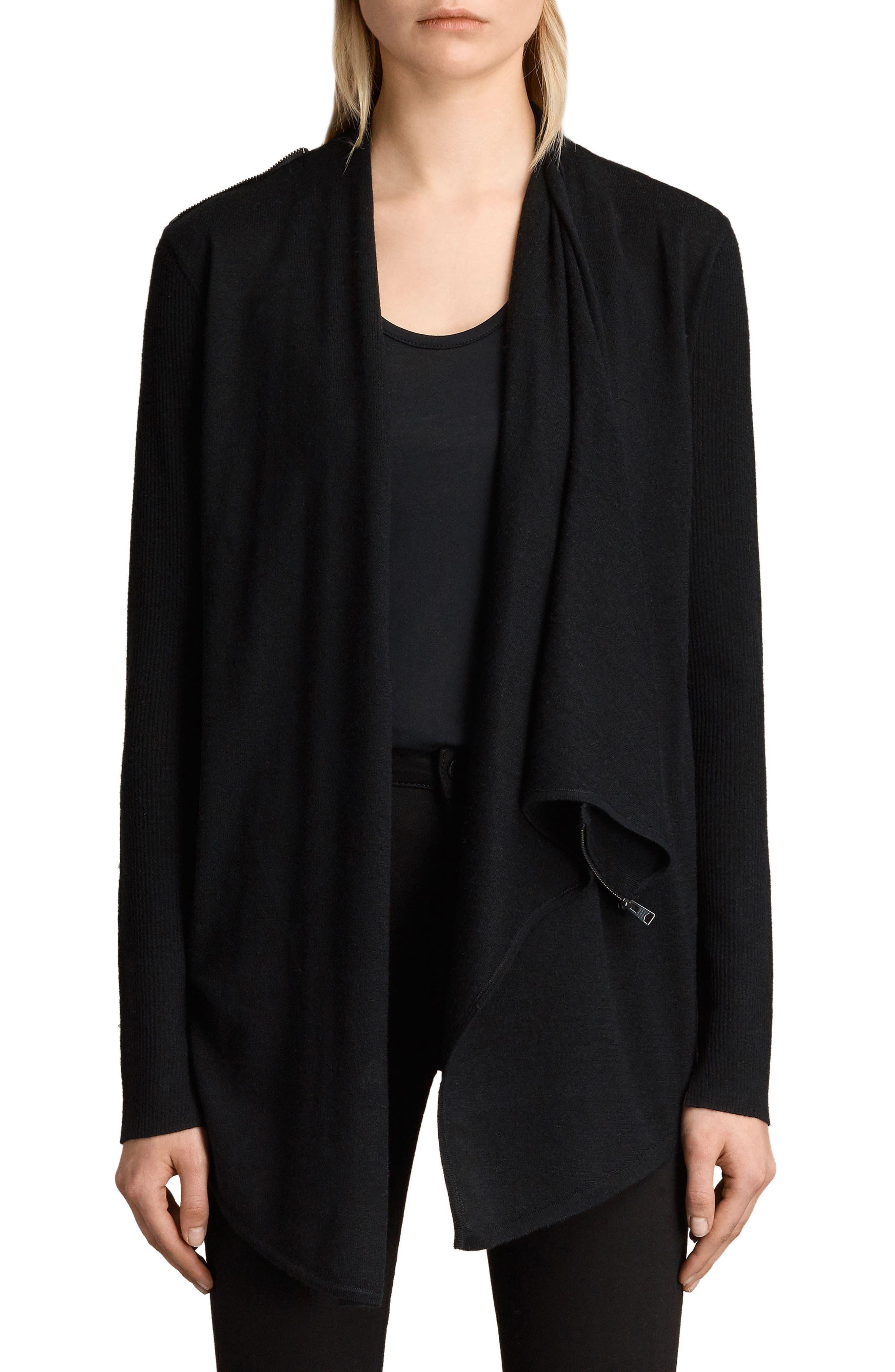 ALLSAINTS Drina Ribbed Cardigan, Main, color, BLACK
