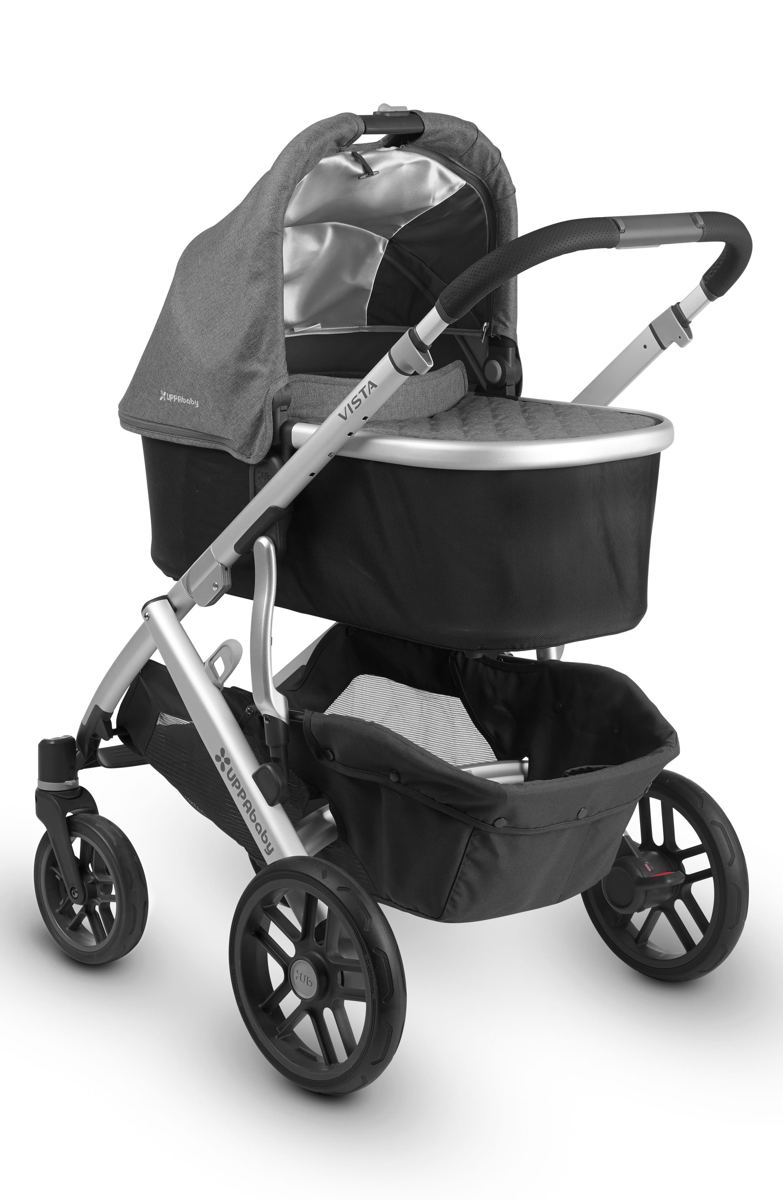 UPPABABY, 2018 VISTA Aluminum Frame Convertible Complete Stroller with Leather Trim, Alternate thumbnail 4, color, JORDAN CHARCOAL/ SILVER