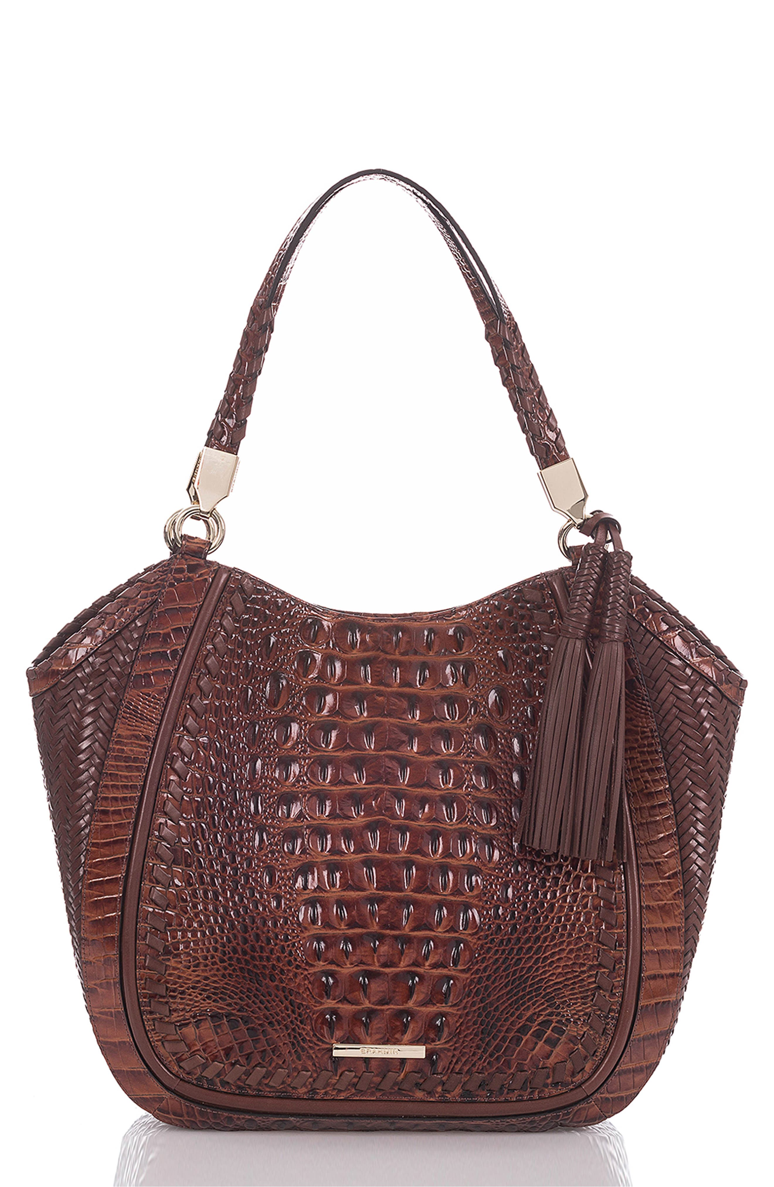 BRAHMIN Marianna Croc Embossed Leather Tote, Main, color, 200