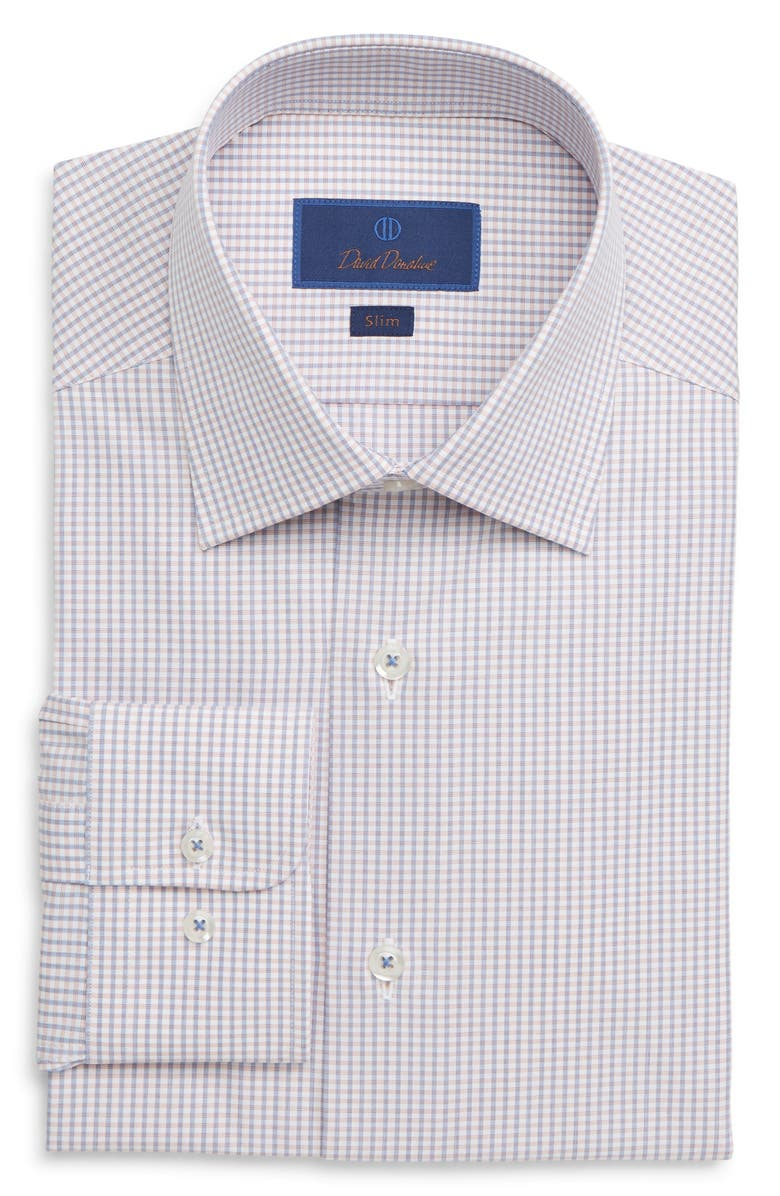 David Donahue  SLIM FIT GINGHAM DRESS SHIRT
