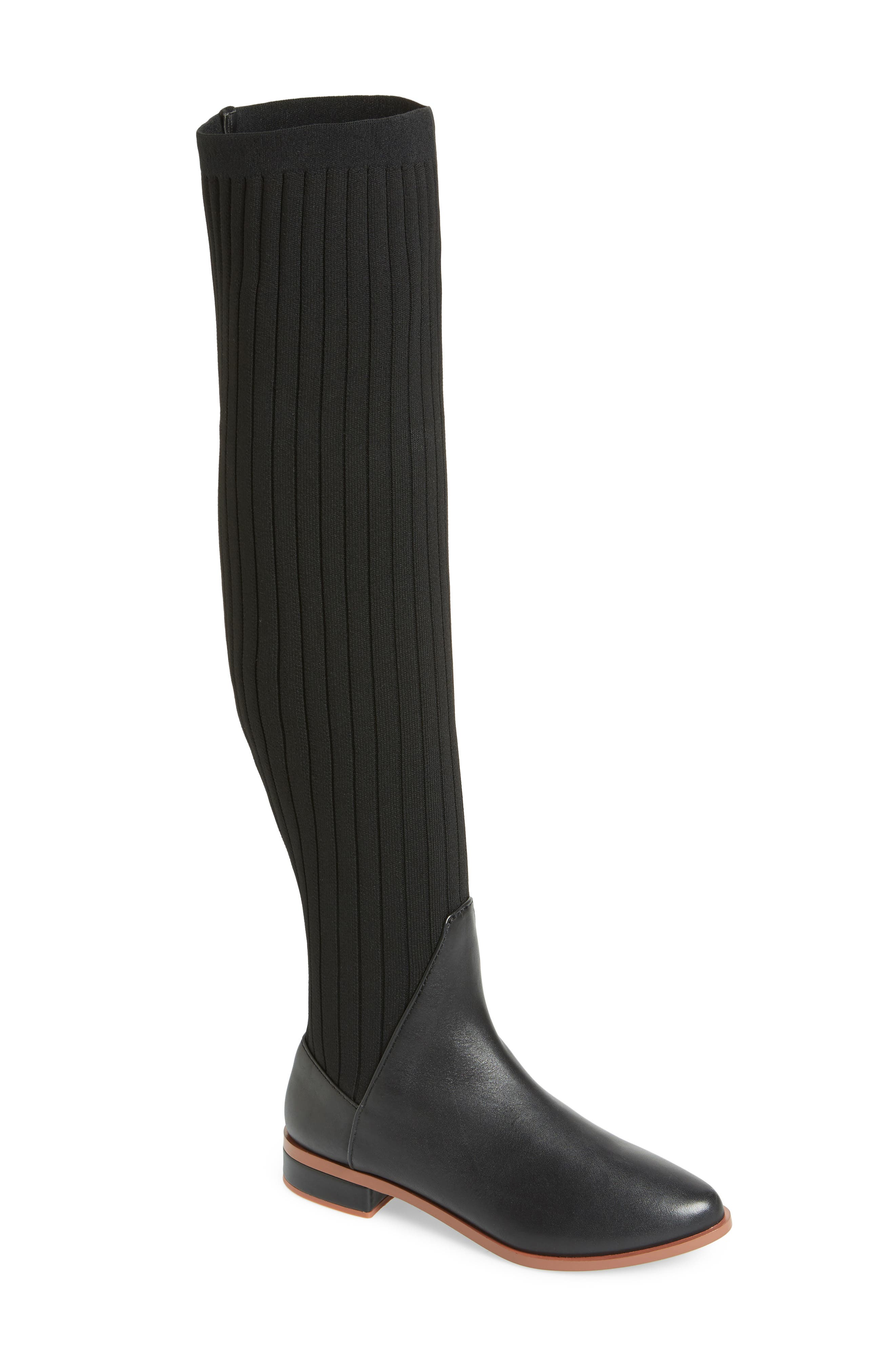 Kelsi Dagger Brooklyn Alva Over The Knee Sock Knit Boot- Black