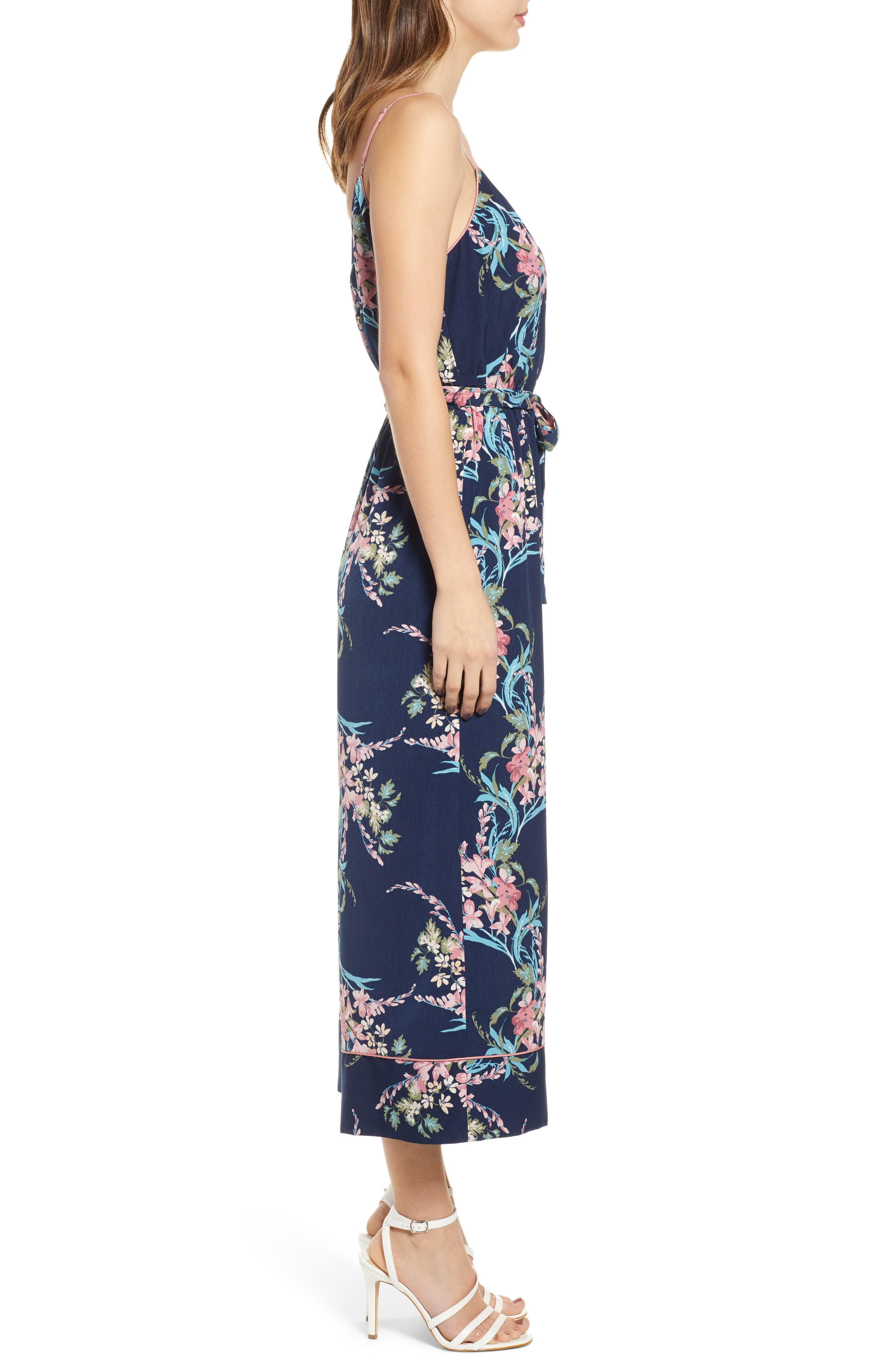 LEITH, Piped Cami Jumpsuit, Alternate thumbnail 5, color, NAVY PEACOAT FEM FLORAL