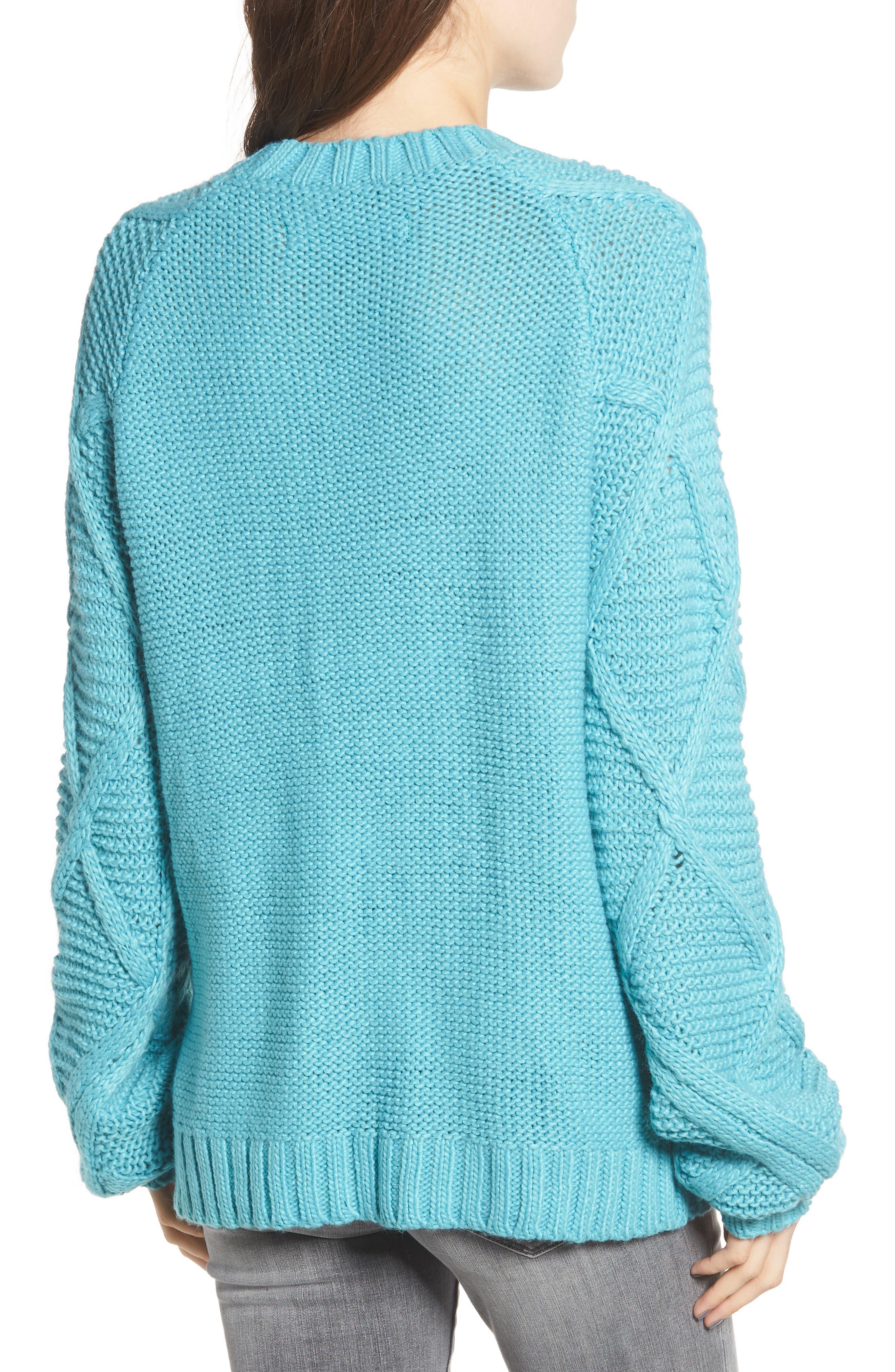 PROSPERITY DENIM, Cable Knit Sweater, Alternate thumbnail 2, color, 400