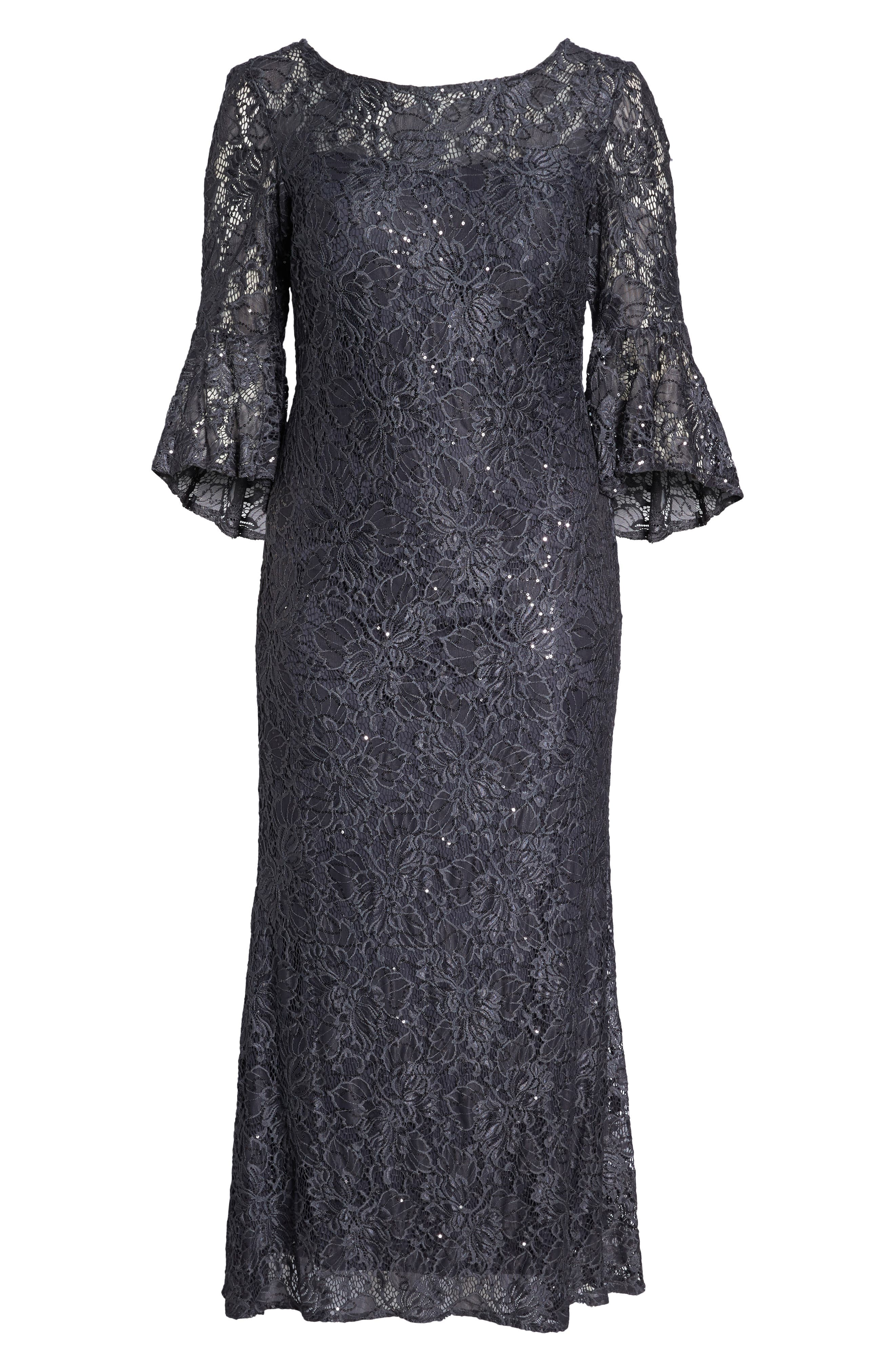 MORGAN & CO., Lace Bell Sleeve Gown, Alternate thumbnail 7, color, CHARCOAL