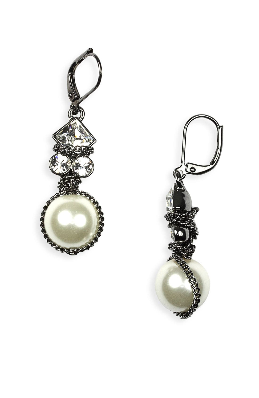 GIVENCHY, Small Glass Pearl Earrings, Main thumbnail 1, color, 020