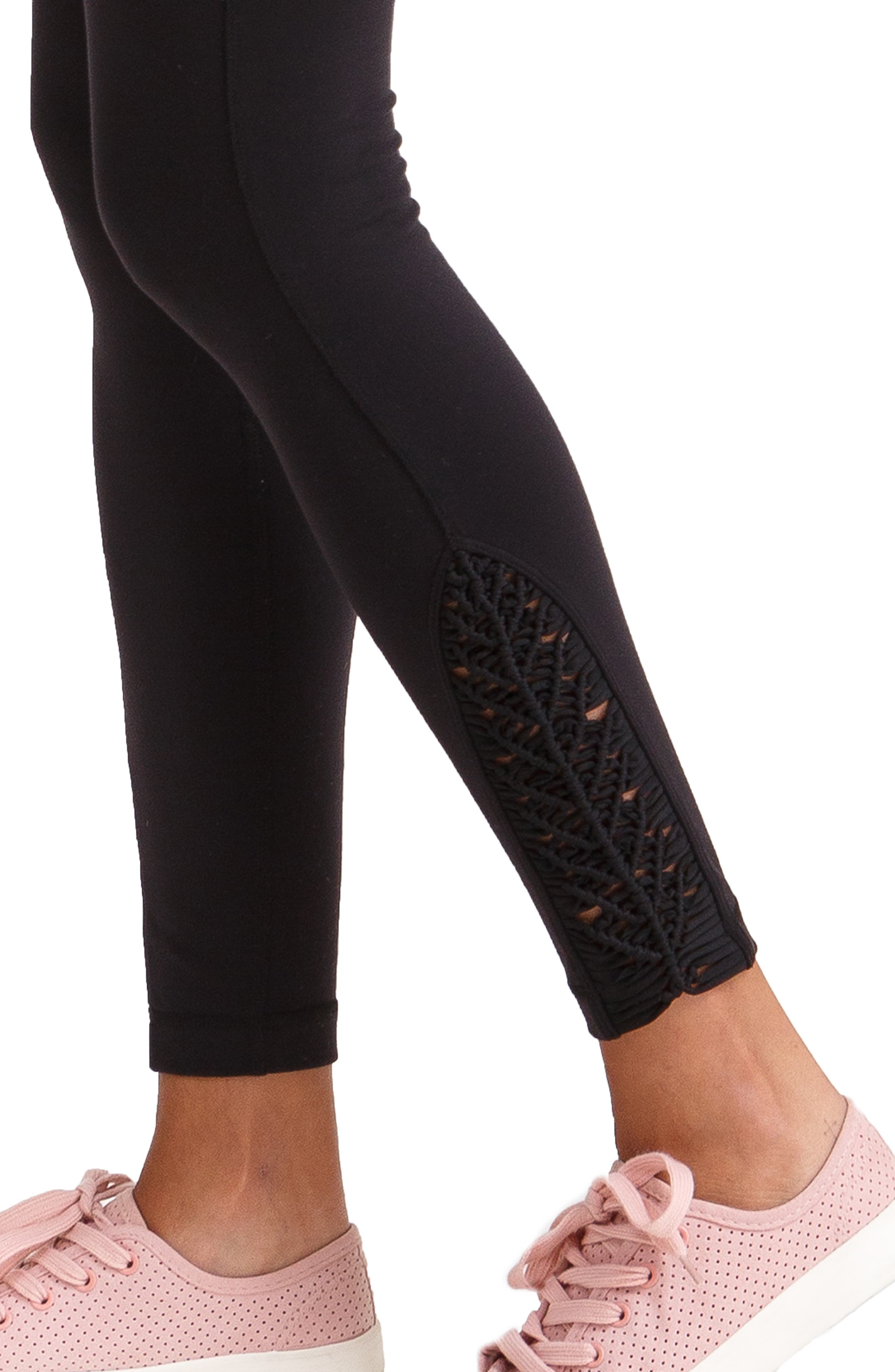 INGRID & ISABEL<SUP>®</SUP>, Active Maternity Leggings with Macramé Detail, Alternate thumbnail 4, color, JET BLACK