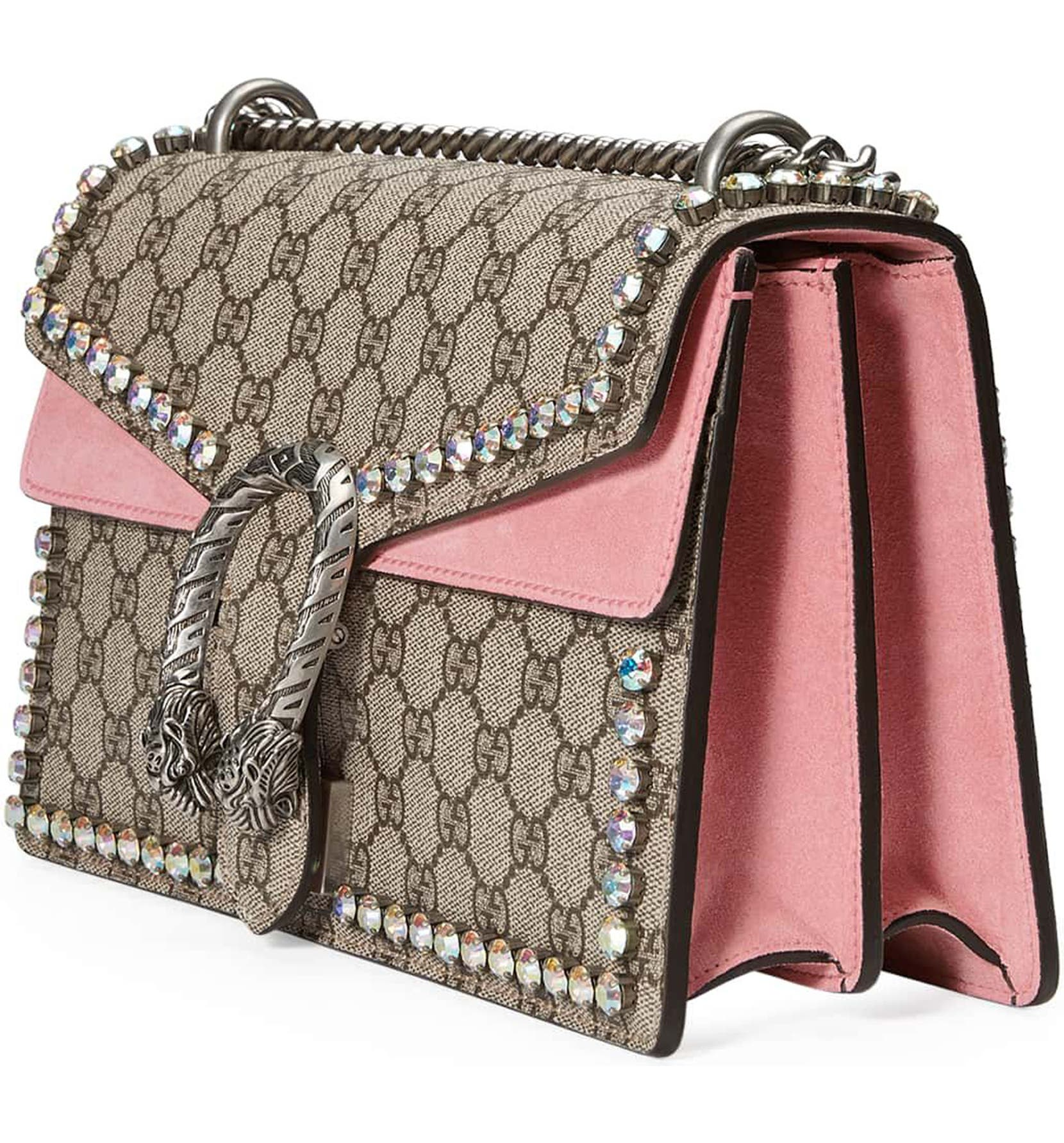 b8f70daf1d5 Gucci Small Dionysus Crystal Embellished GG Supreme Canvas   Suede Shoulder  Bag