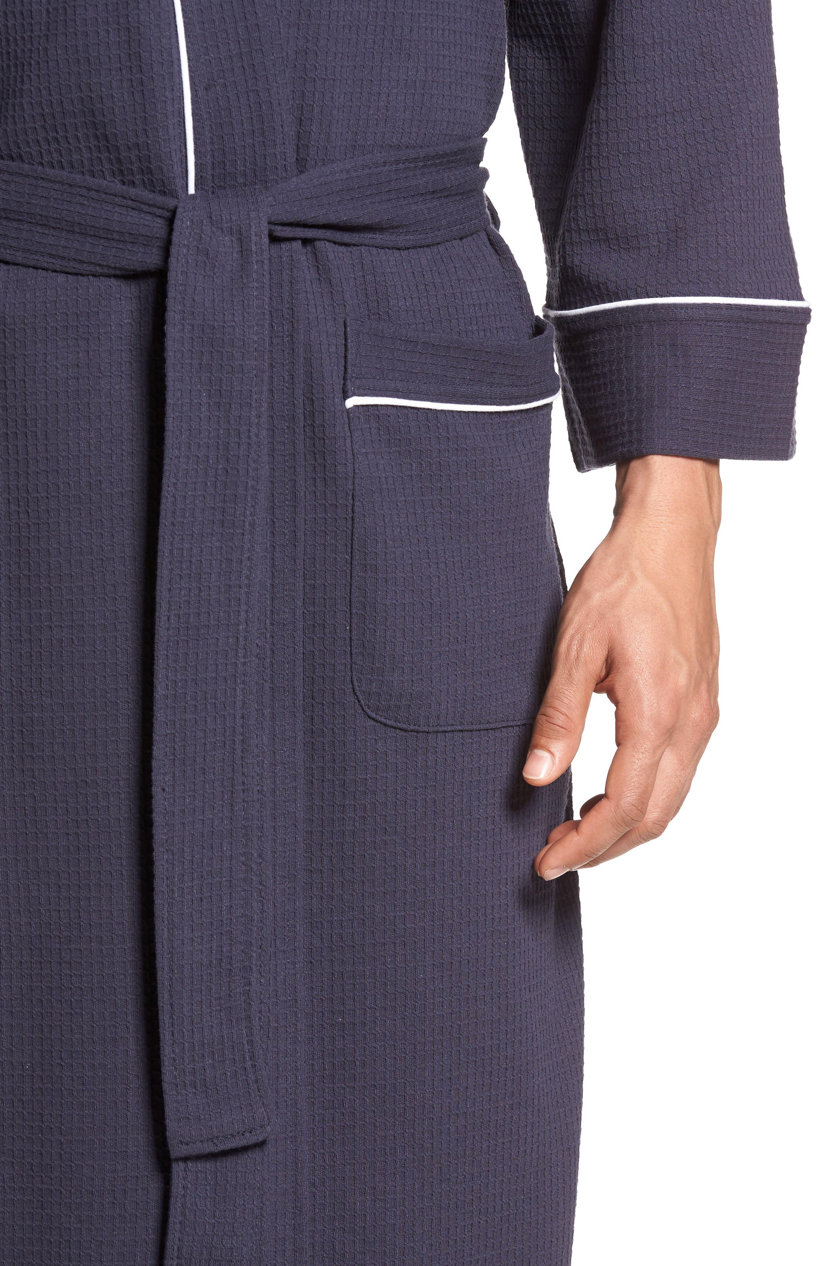 MAJESTIC INTERNATIONAL, Waffle Knit Robe, Alternate thumbnail 4, color, NAVY