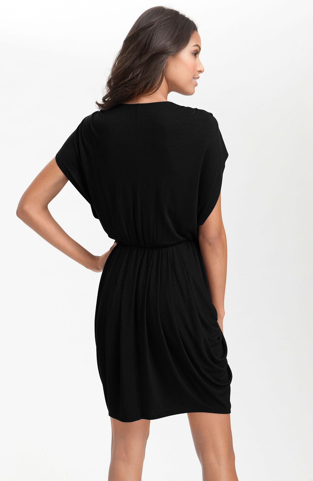 HALOGEN<SUP>®</SUP>, Faux Wrap Pleated Dress, Alternate thumbnail 3, color, 001