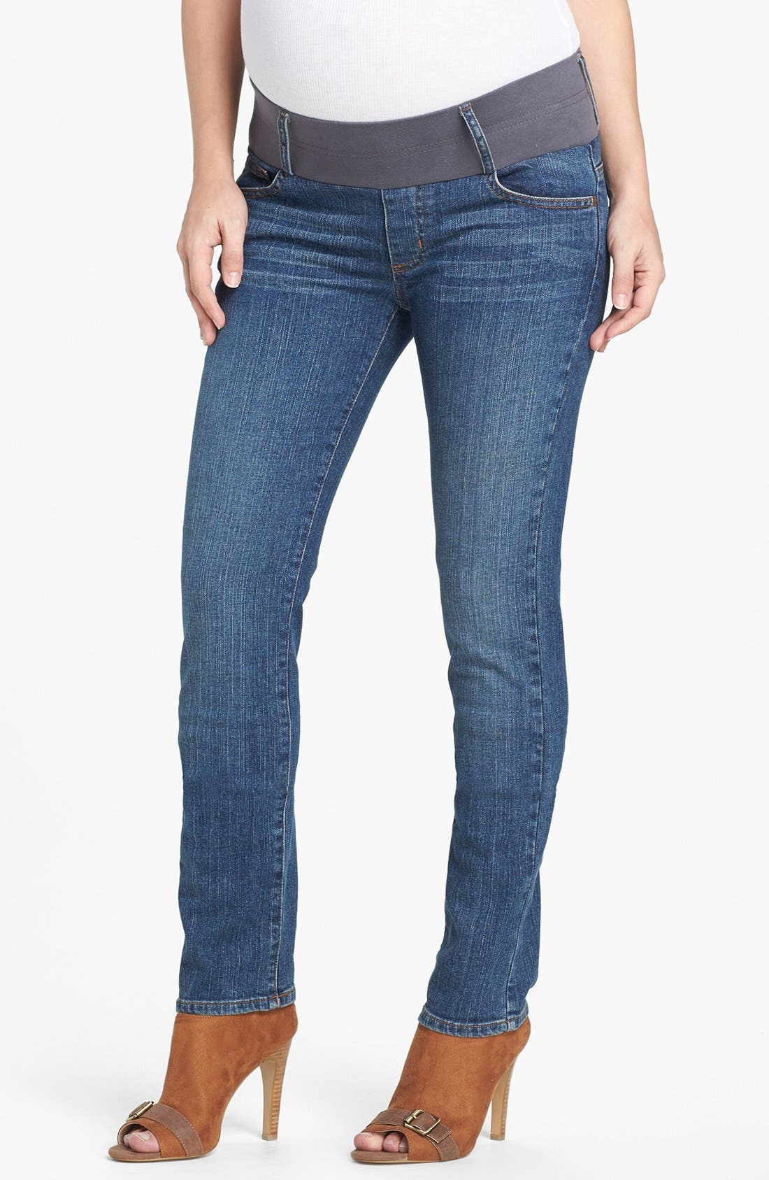 MATERNAL AMERICA Maternity Skinny Jeans, Main, color, CLASSIC WASH