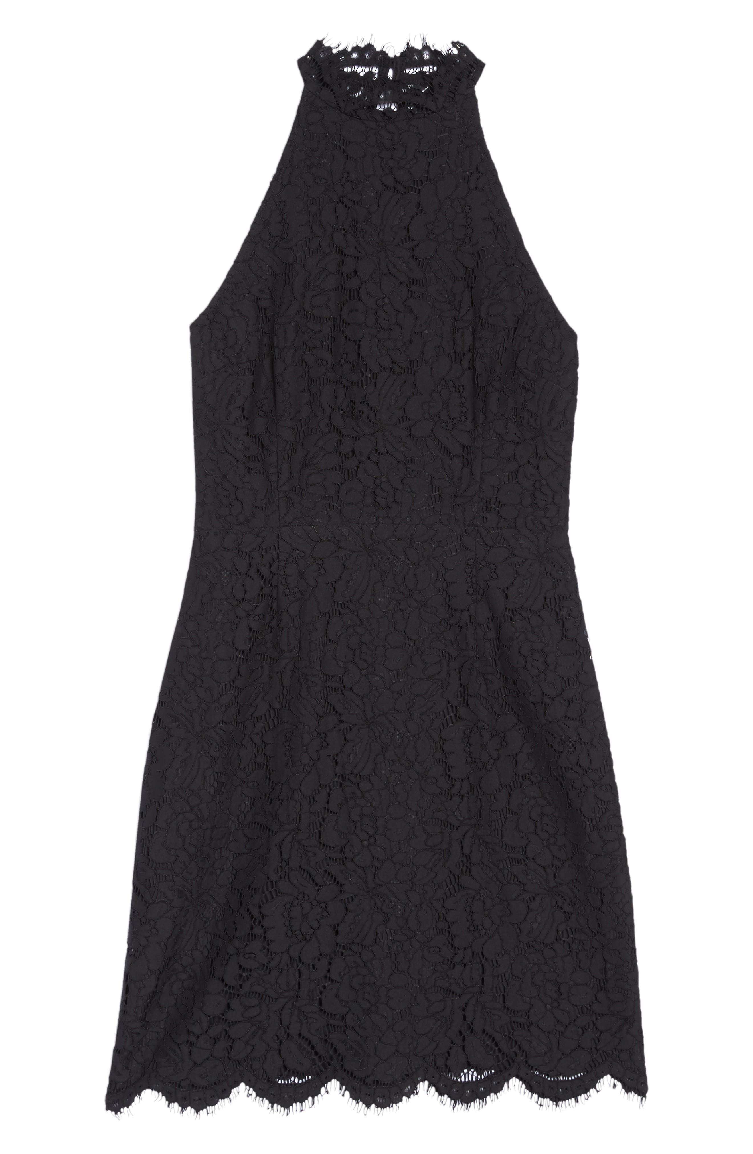 BB DAKOTA, Cara High Neck Lace Cocktail Dress, Alternate thumbnail 7, color, BLACK