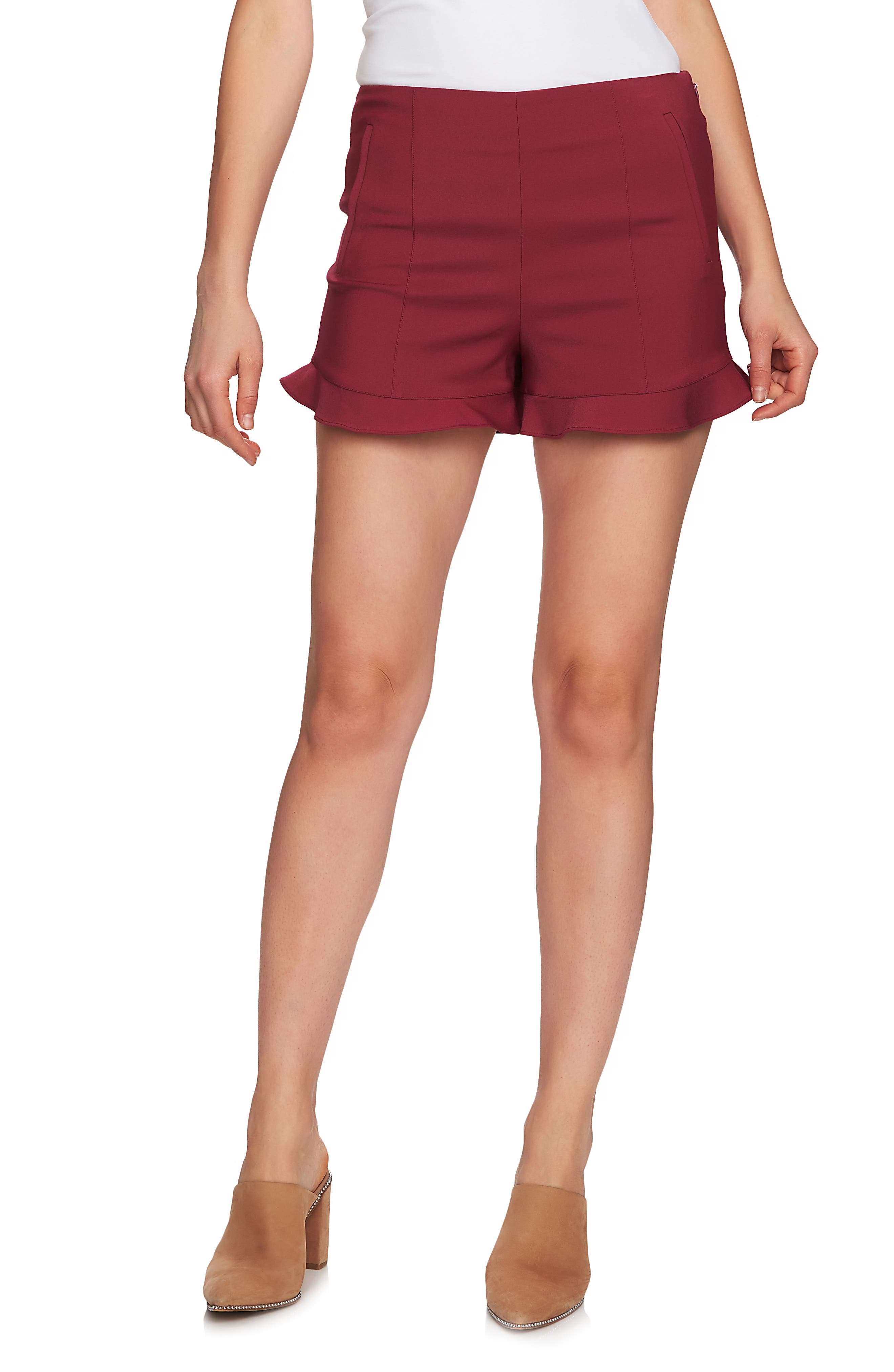 1.STATE Ruffle Hem Flat Front Shorts, Main, color, BERRY CHARM