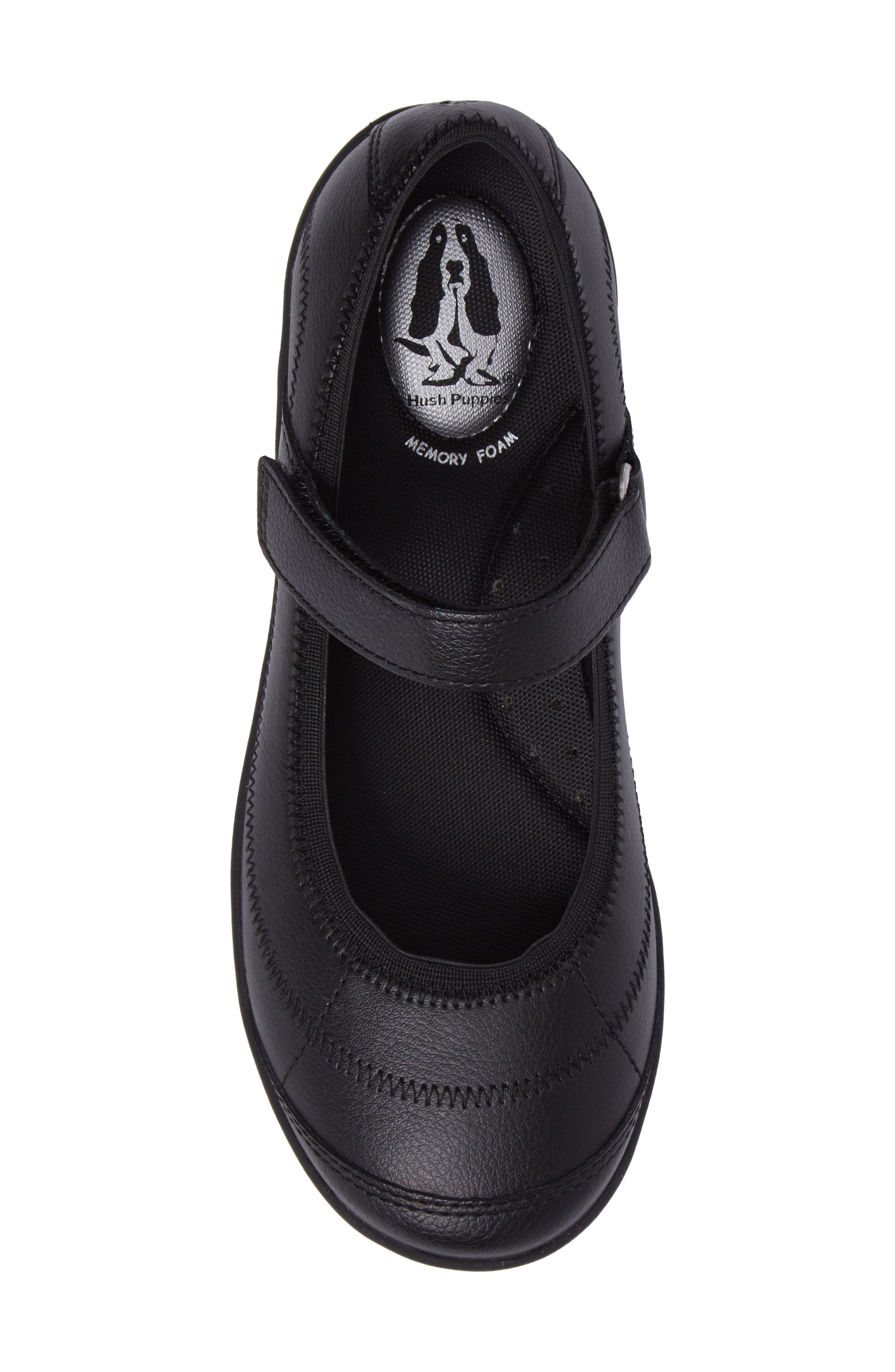 HUSH PUPPIES<SUP>®</SUP>, Reese Mary Jane Flat, Alternate thumbnail 5, color, BLACK LEATHER