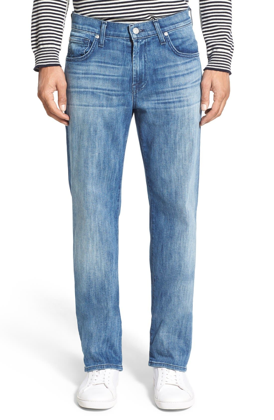 7 FOR ALL MANKIND<SUP>®</SUP> Luxe Performance - Austyn Relaxed Straight Leg Jeans, Main, color, NAKKITTA BLUE