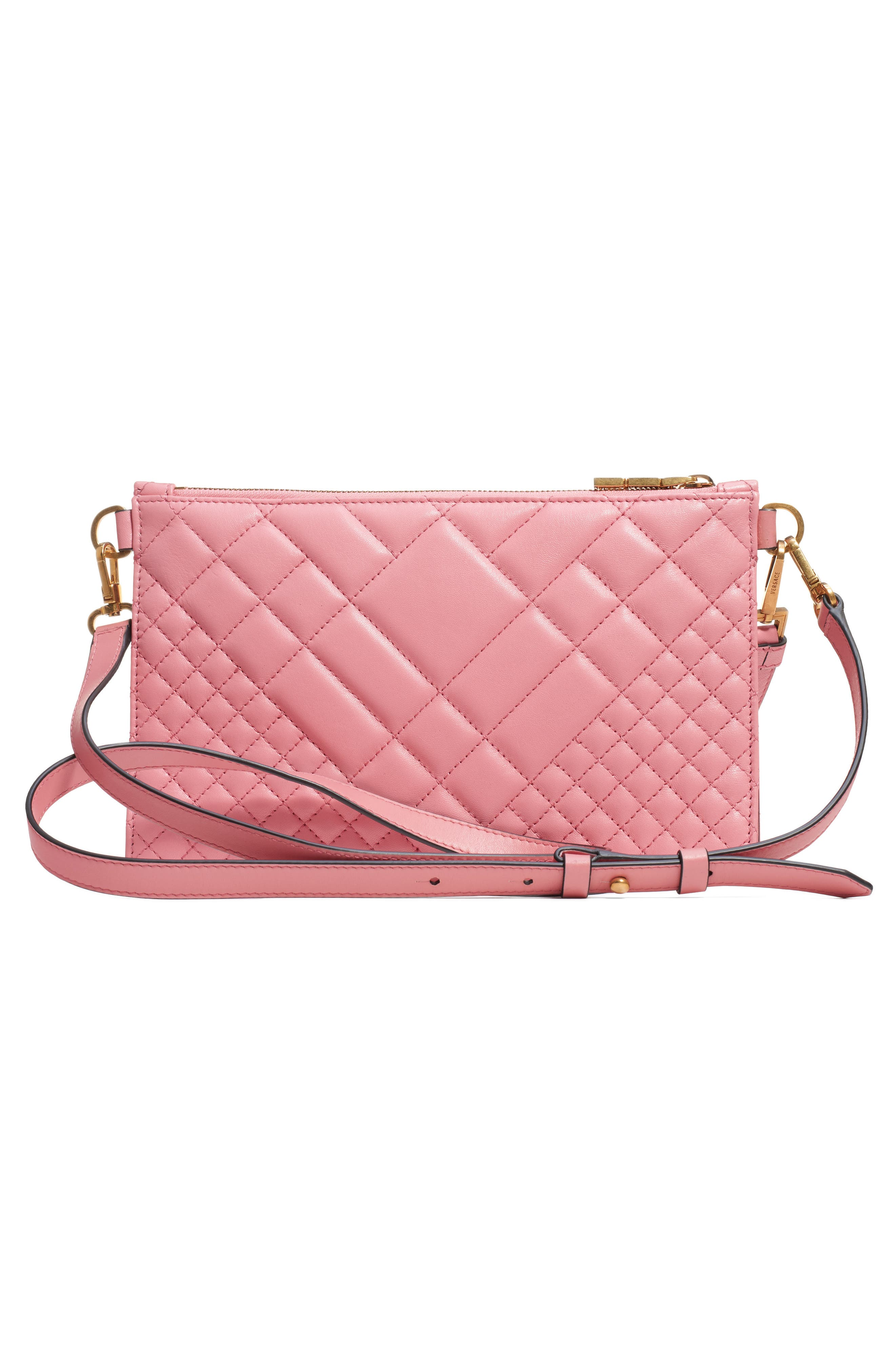 VERSACE, Tribute Icon Quilted Leather Pouch, Alternate thumbnail 3, color, SHELL PINK/ TRIBUTE GOLD