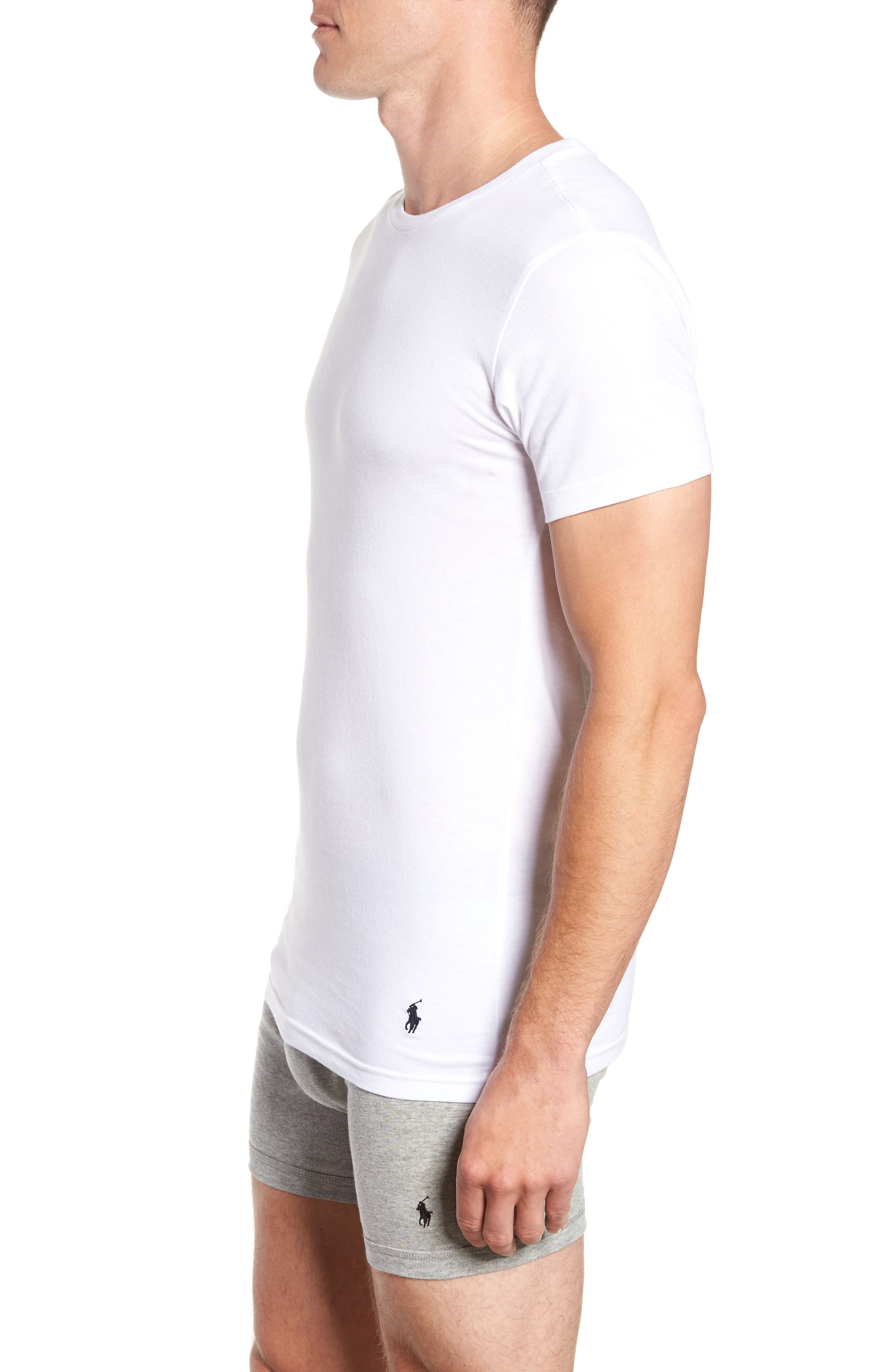 LAUREN RALPH LAUREN, Polo Ralph Lauren 3-Pack Slim Fit Crewneck T-Shirts, Alternate thumbnail 4, color, WHITE