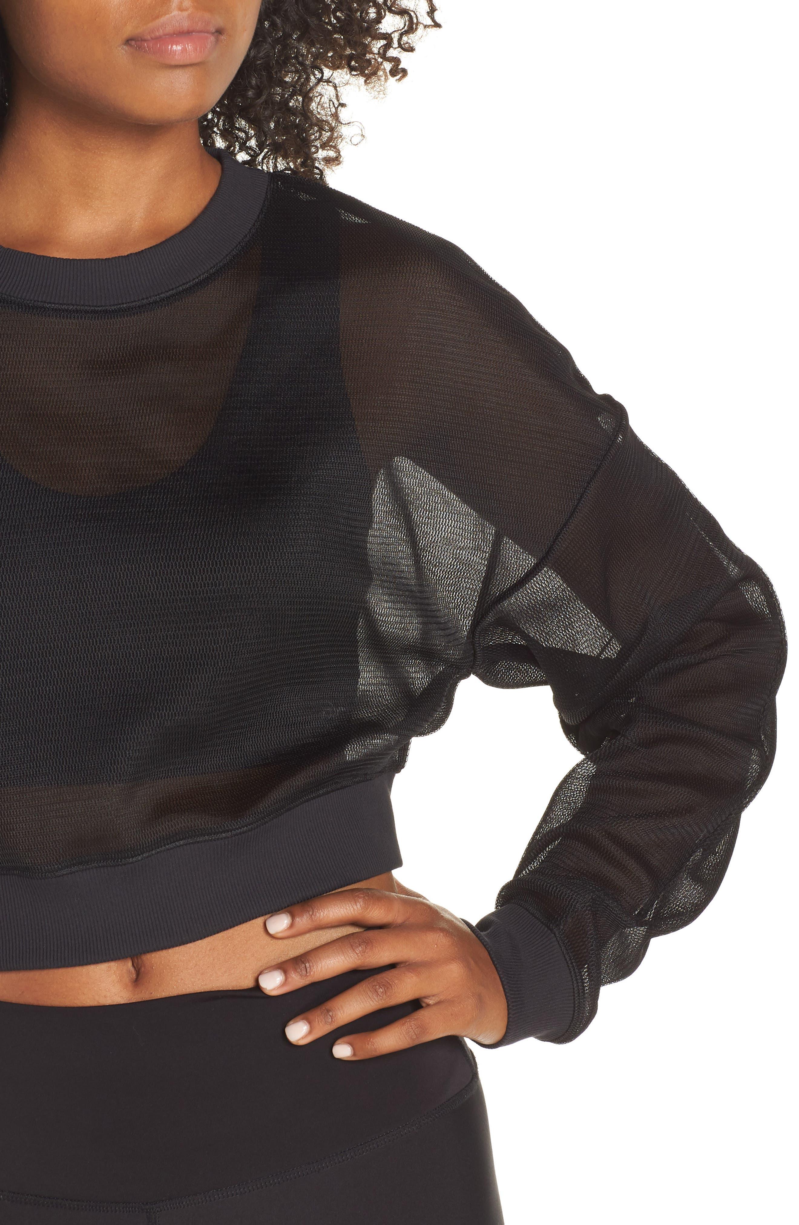 ALO, Row Long Sleeve Sweatshirt, Alternate thumbnail 4, color, BLACK