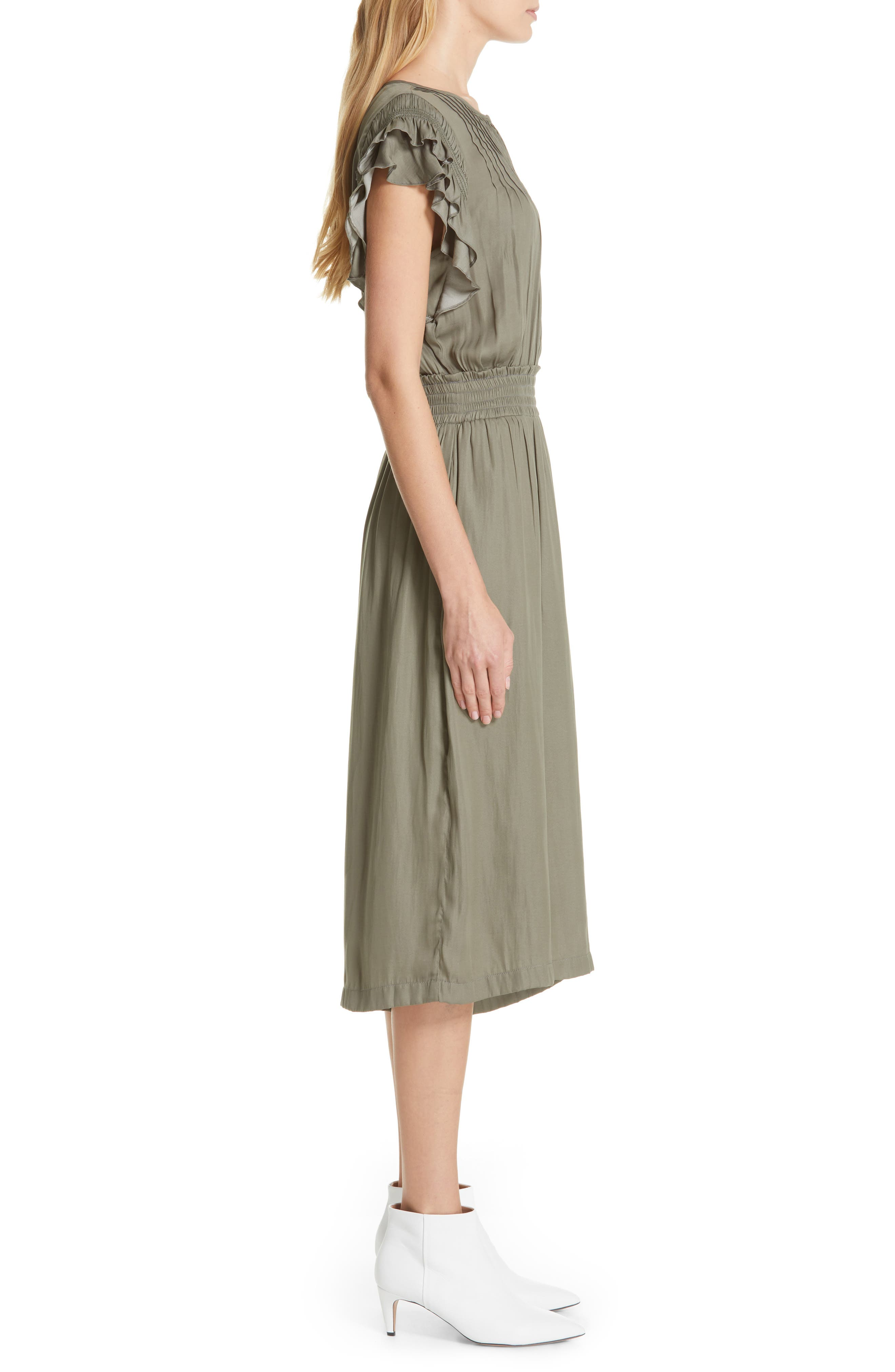 DOLAN, Carrie Pintucked Jumpsuit, Alternate thumbnail 4, color, SAGE