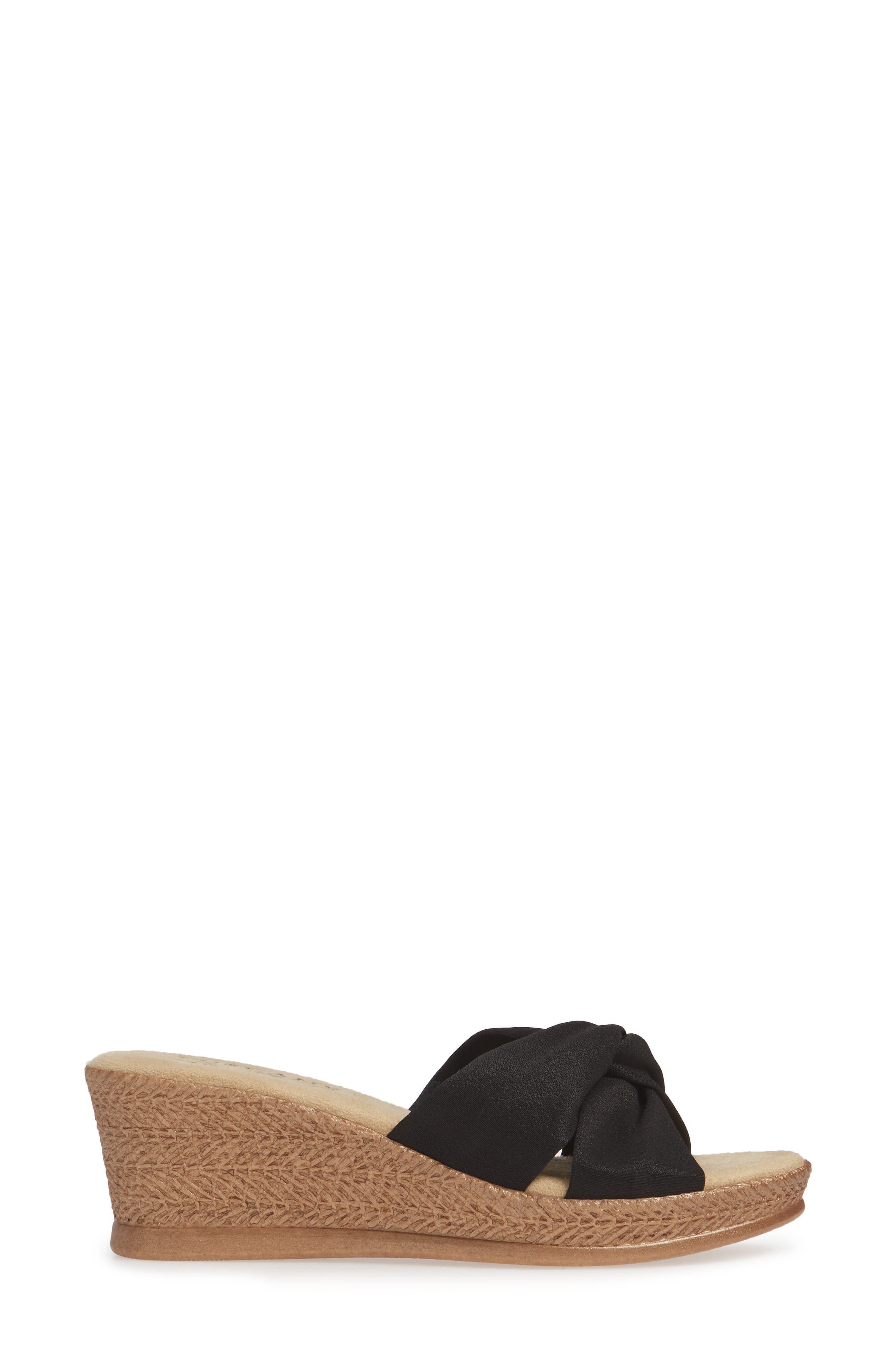 TUSCANY BY EASY STREET<SUP>®</SUP>, Dinah Platform Wedge Sandal, Alternate thumbnail 3, color, BLACK FABRIC