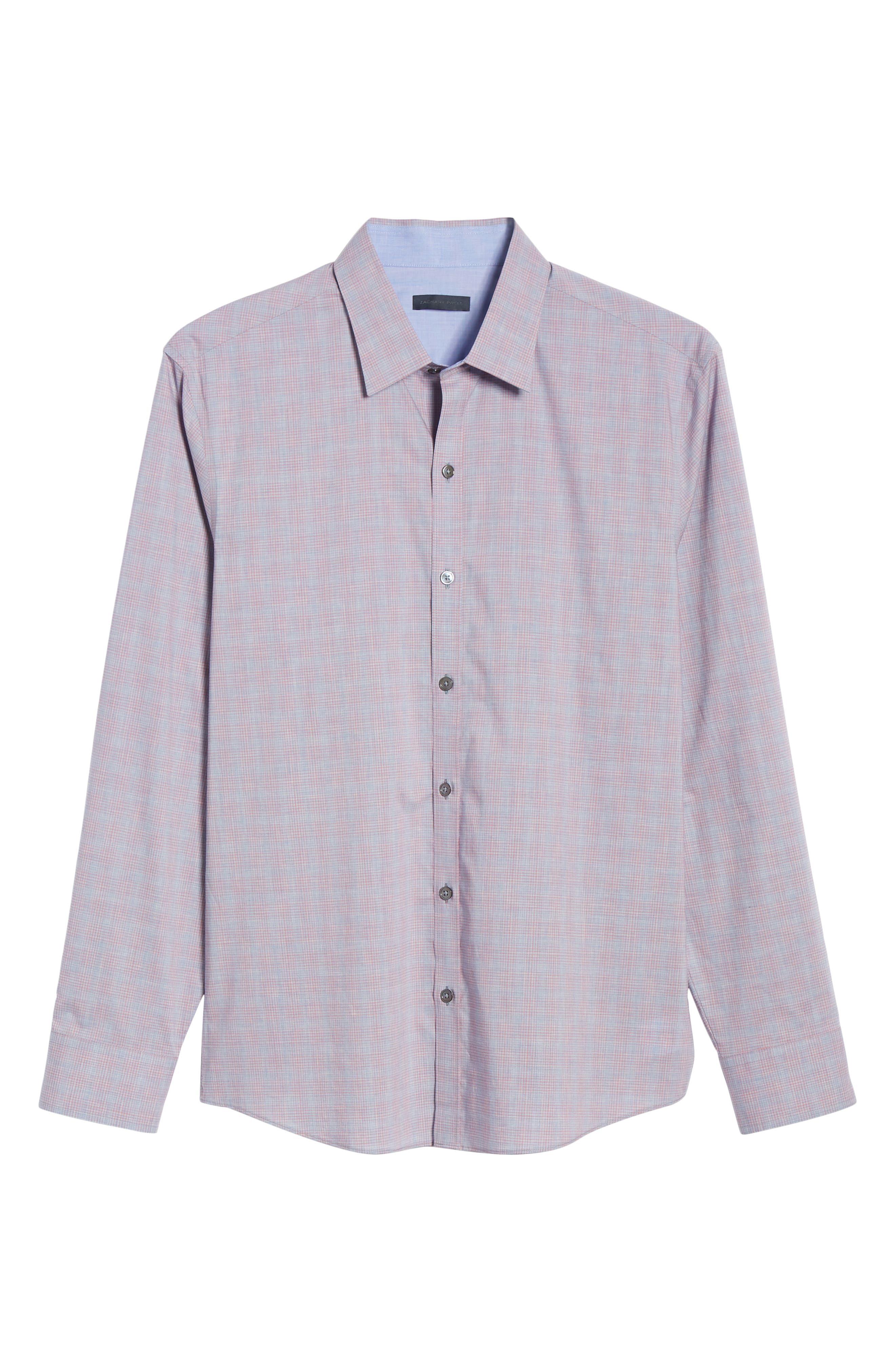 ZACHARY PRELL, Buckland Regular Fit Sport Shirt, Alternate thumbnail 5, color, FLAMINGO