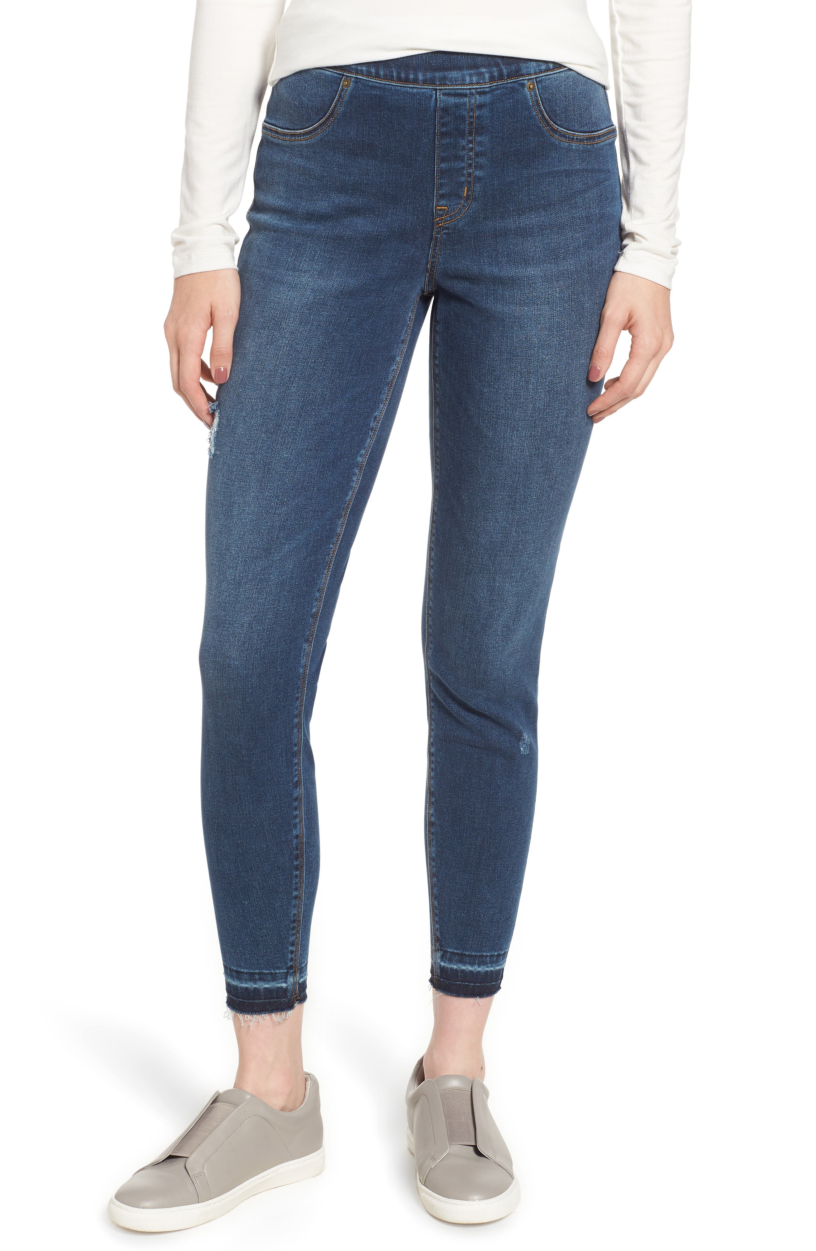 SPANX<SUP>®</SUP>, Distressed Skinny Jeans, Main thumbnail 1, color, MEDIUM WASH