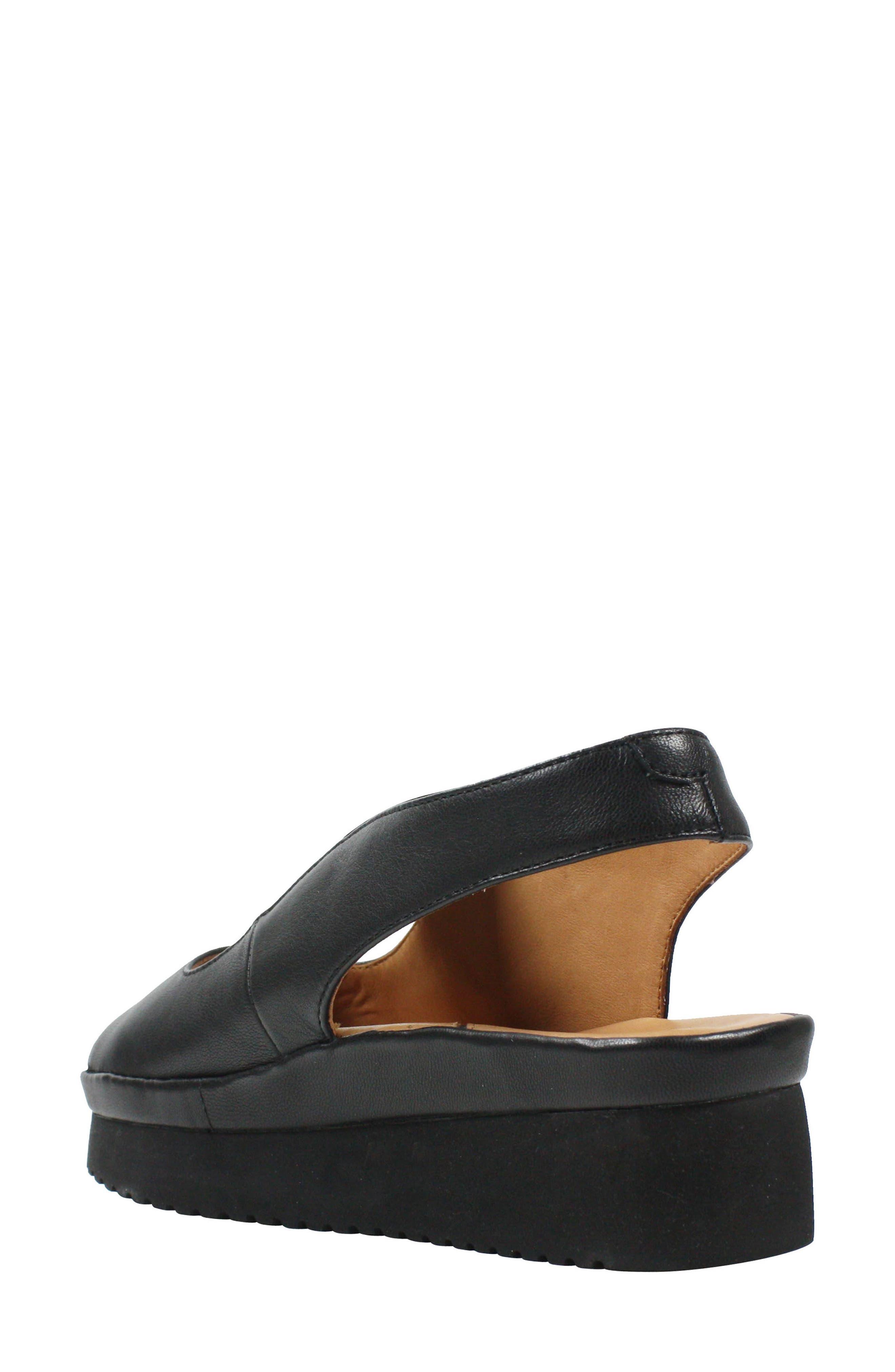L'AMOUR DES PIEDS, Adalicia Platform Sandal, Alternate thumbnail 2, color, BLACK LEATHER