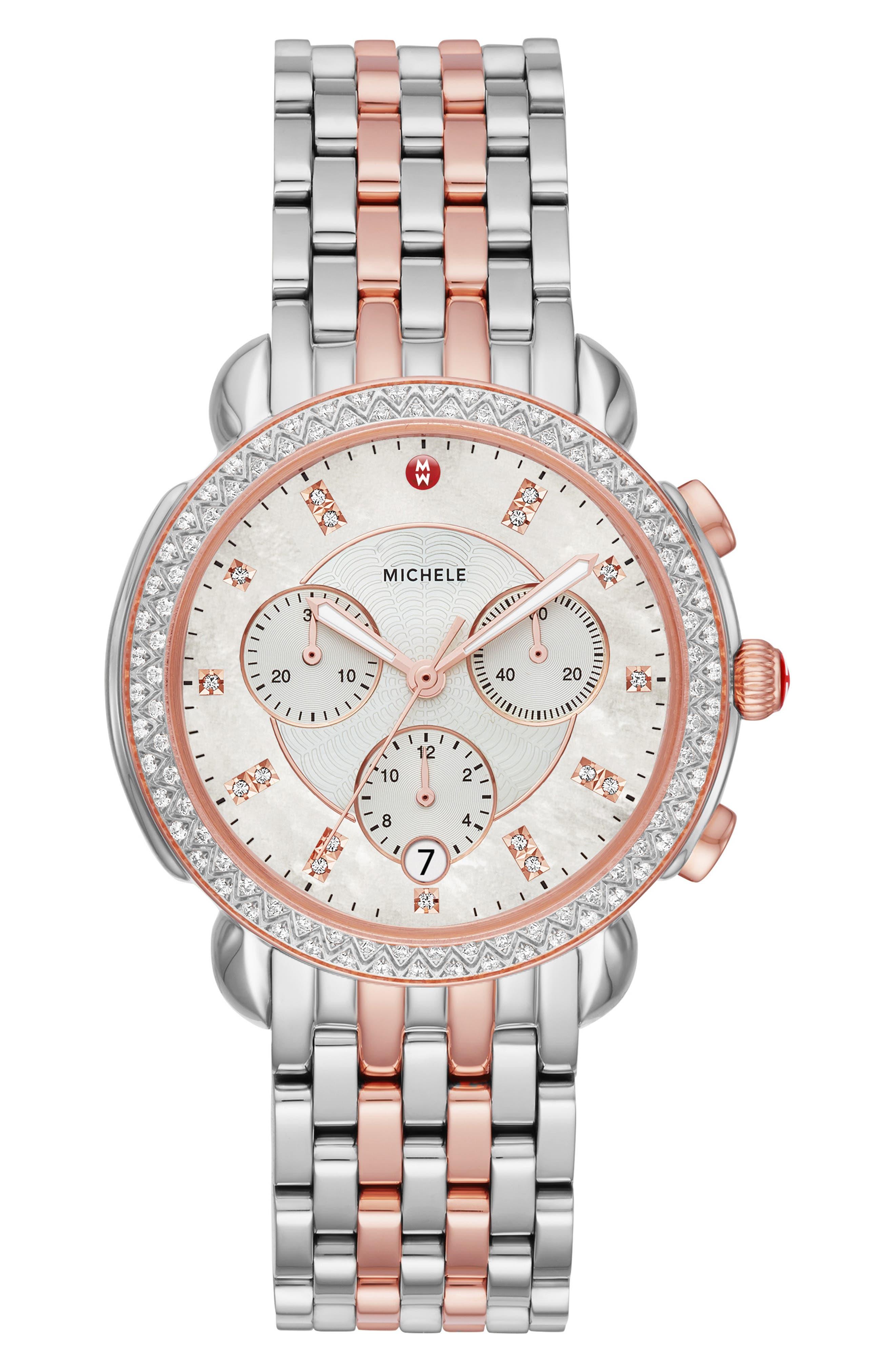 MICHELE Sidney Chrono Diamond Diamond Dial Watch Case, 38mm, Main, color, ROSE GOLD/ MOP/ SILVER