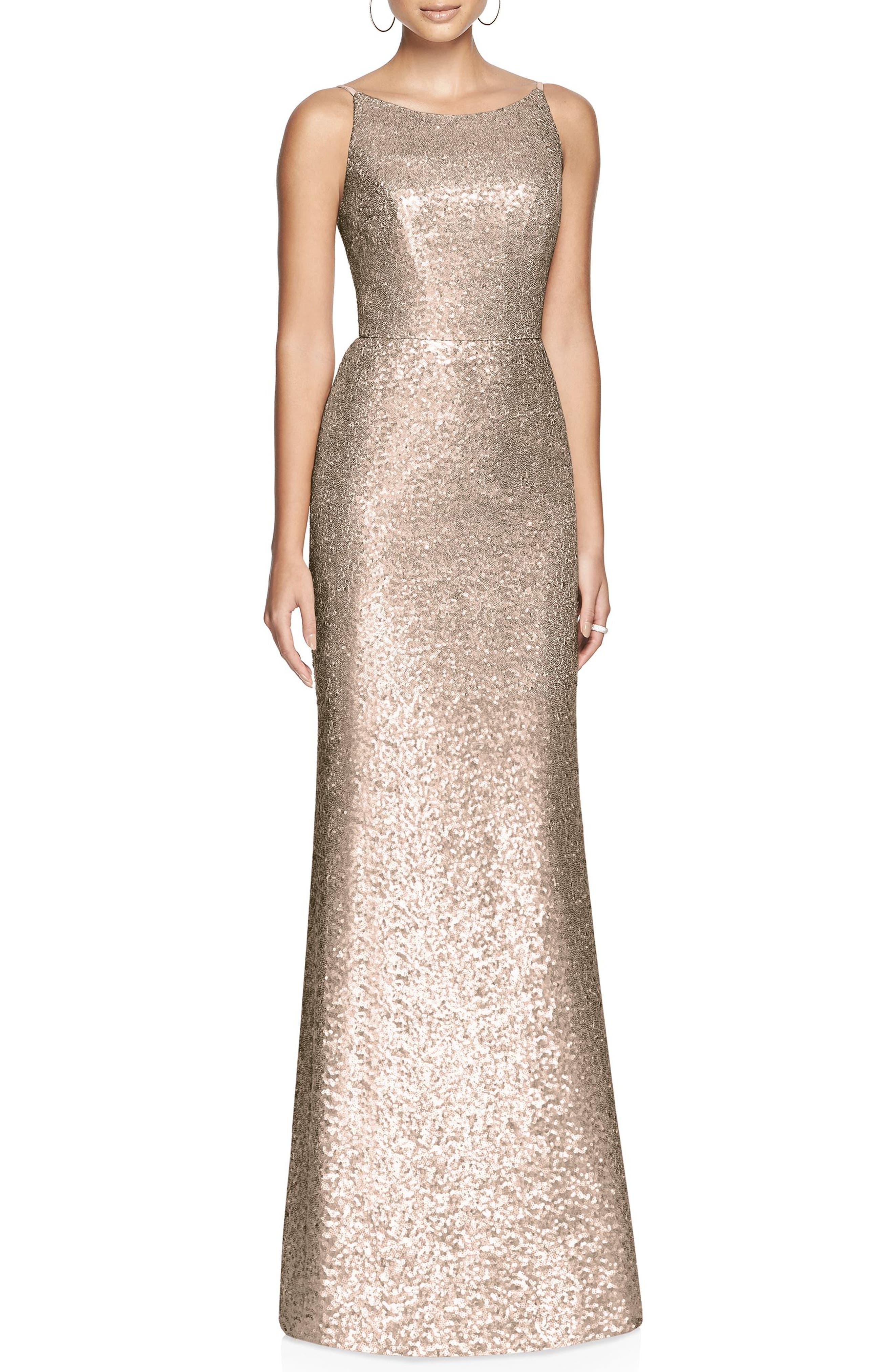 Dessy Collection Bateau Neck Sequin Gown, Metallic