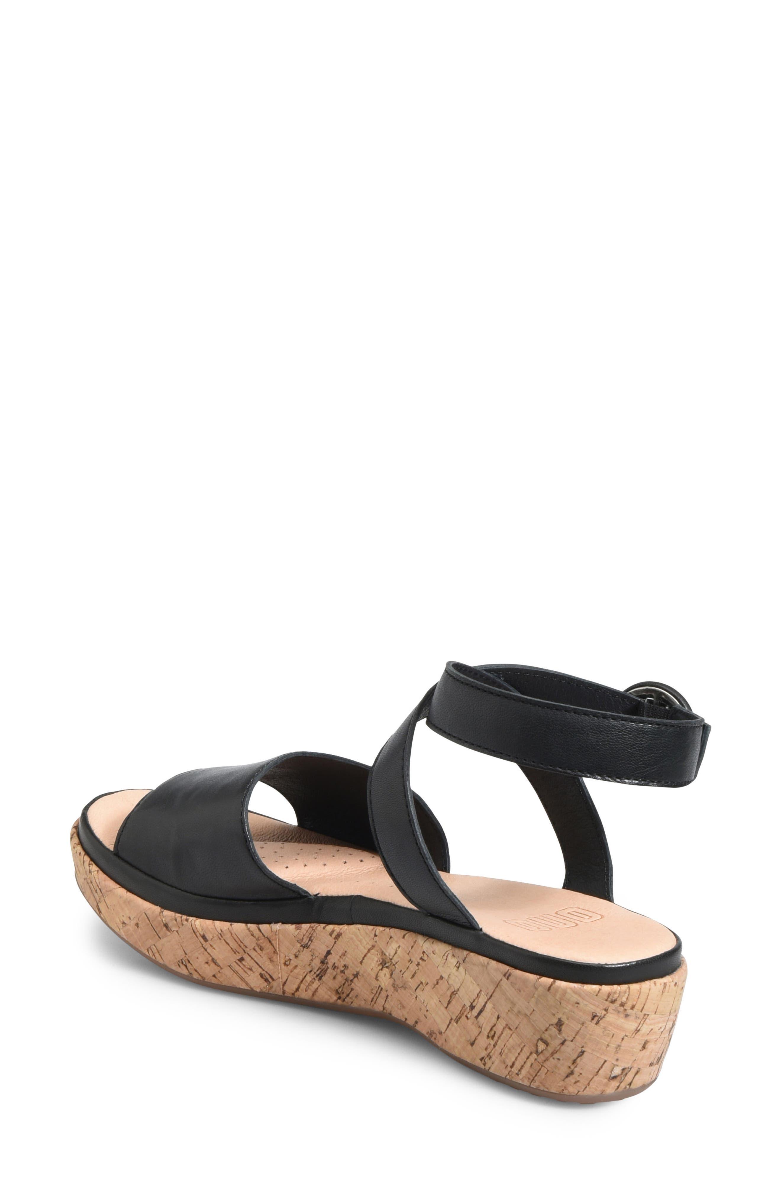 ONO, Dreamy Platform Wedge Sandal, Alternate thumbnail 2, color, BLACK LEATHER