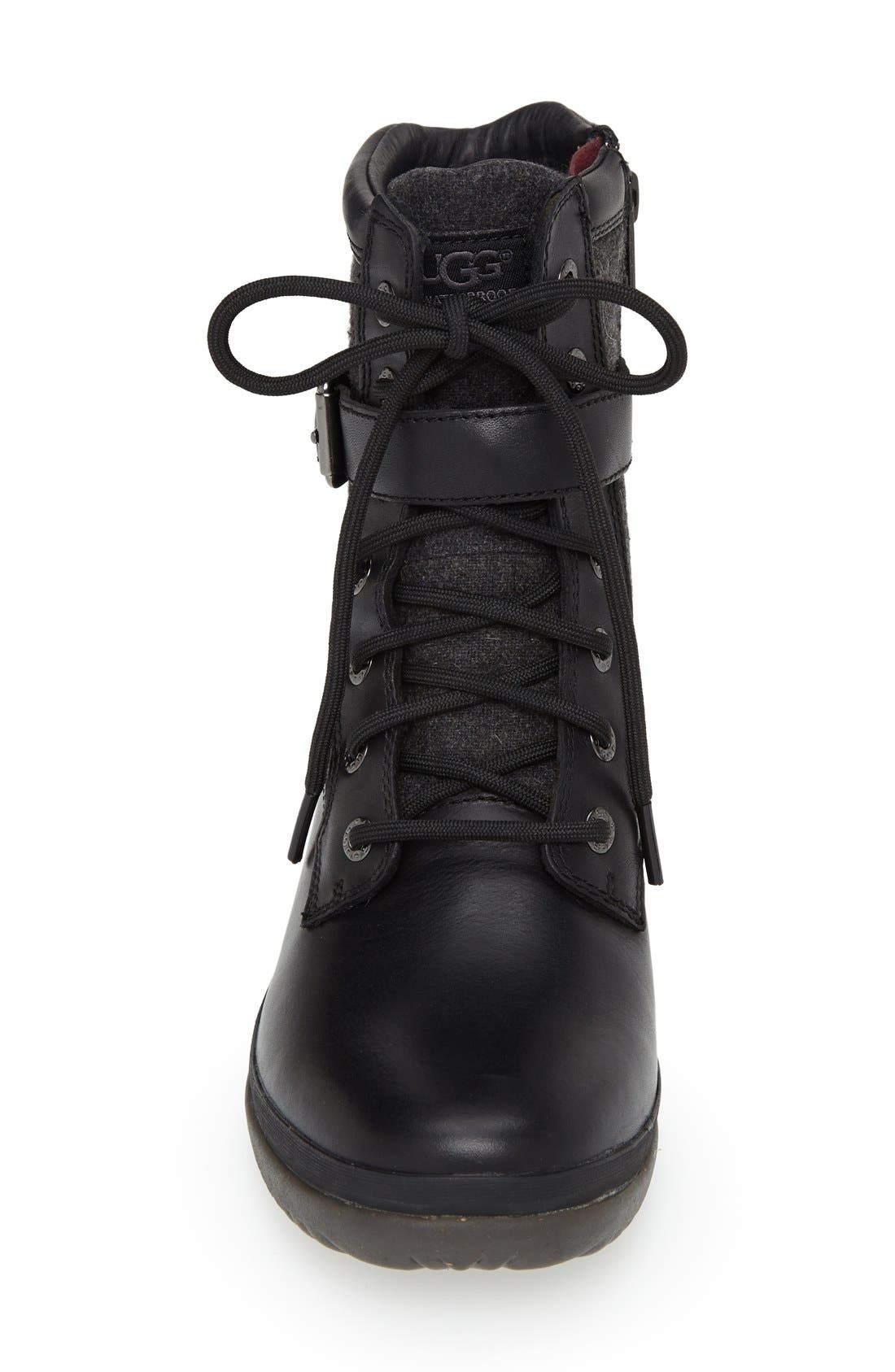 UGG<SUP>®</SUP>, Kesey Waterproof Boot, Alternate thumbnail 3, color, BLACK