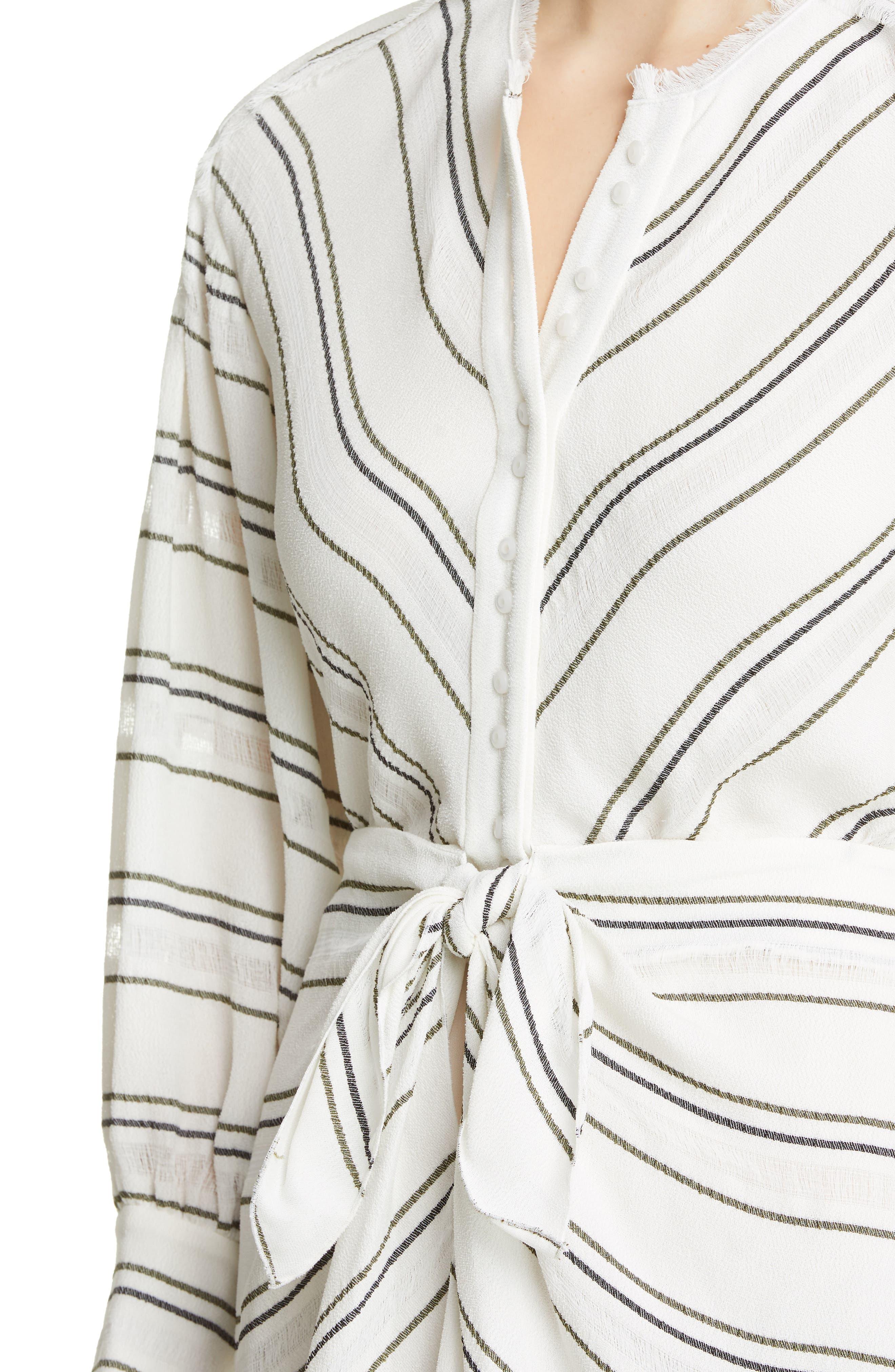PROENZA SCHOULER, Tie Front Stripe Crepe Dress, Alternate thumbnail 5, color, WHITE