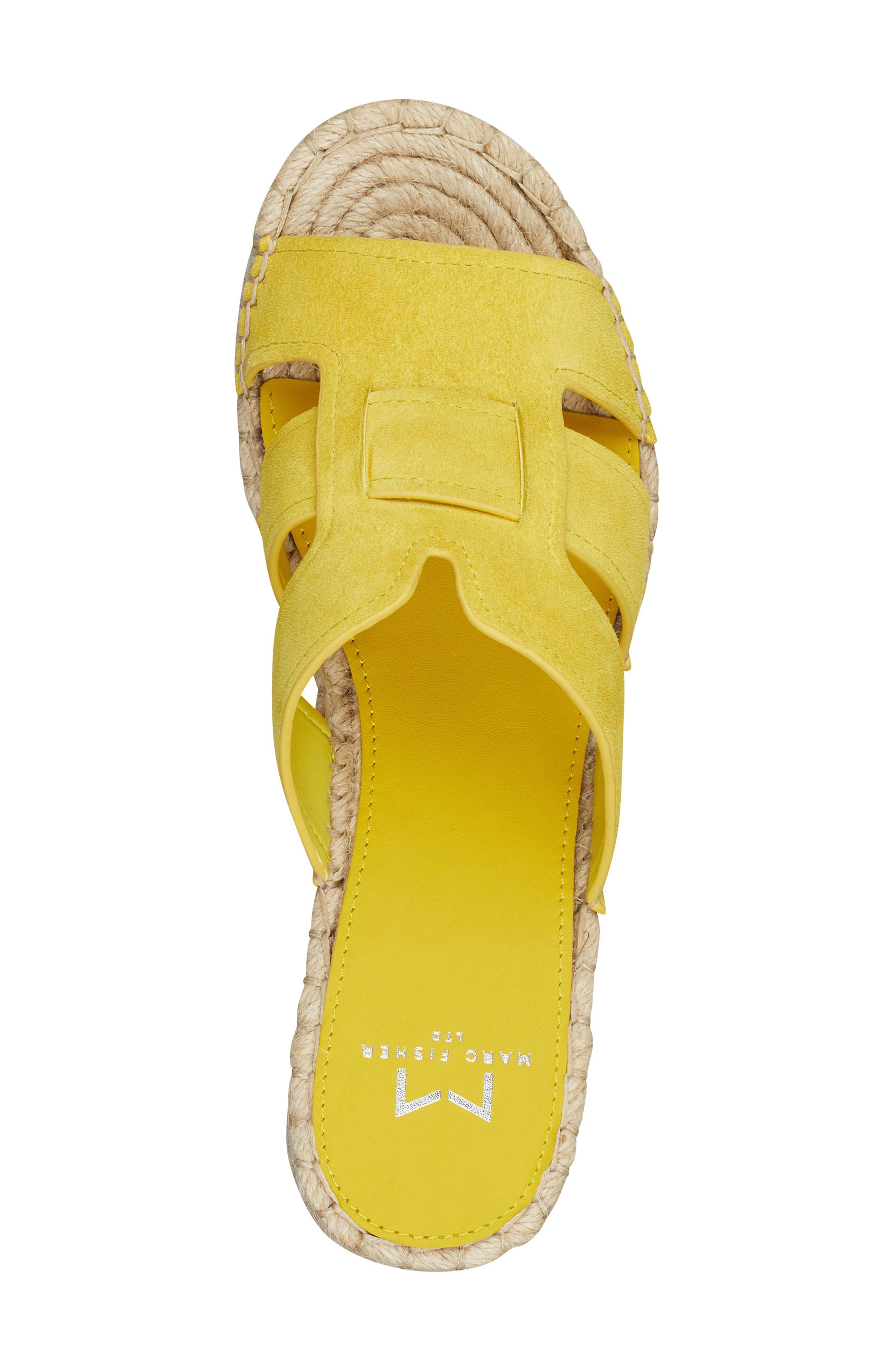 MARC FISHER LTD, Robbyn Espadrille Wedge Sandal, Alternate thumbnail 5, color, YELLOW SUEDE