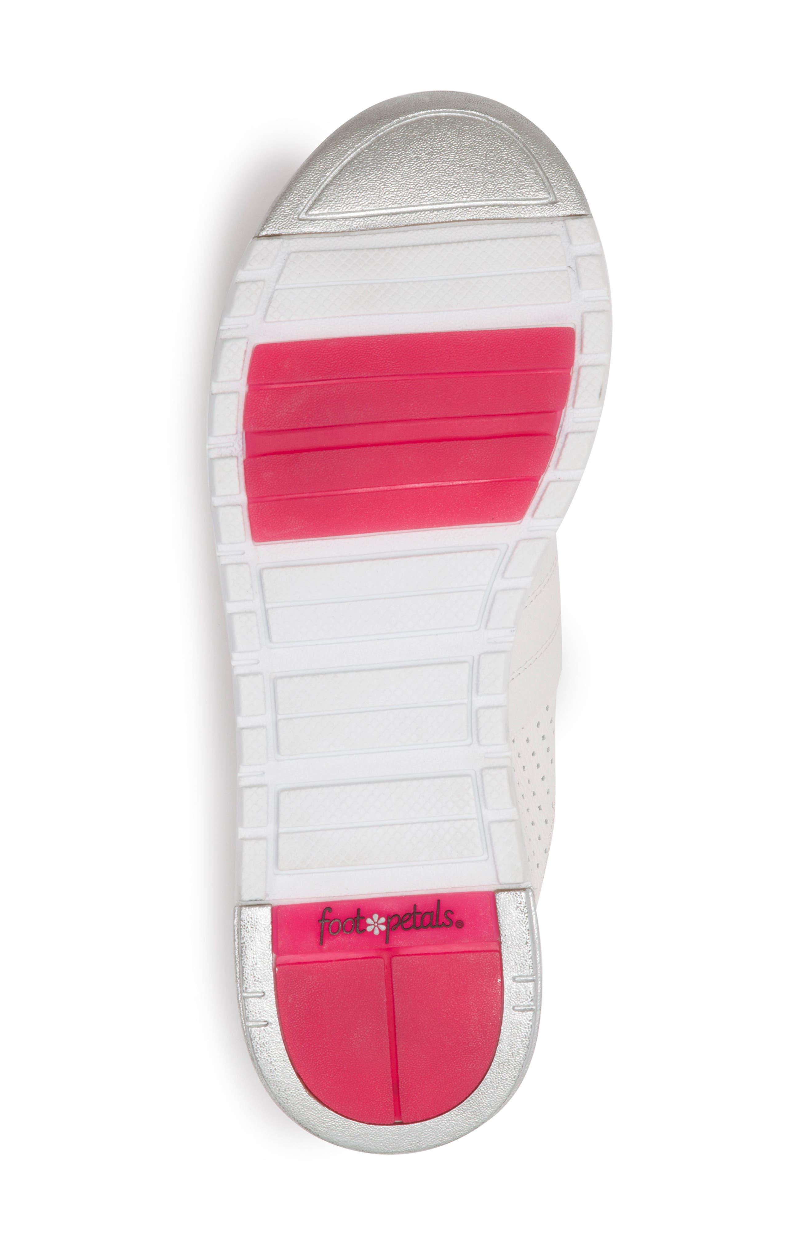 FOOT PETALS, Bea Sneaker, Alternate thumbnail 6, color, WHITE LEATHER