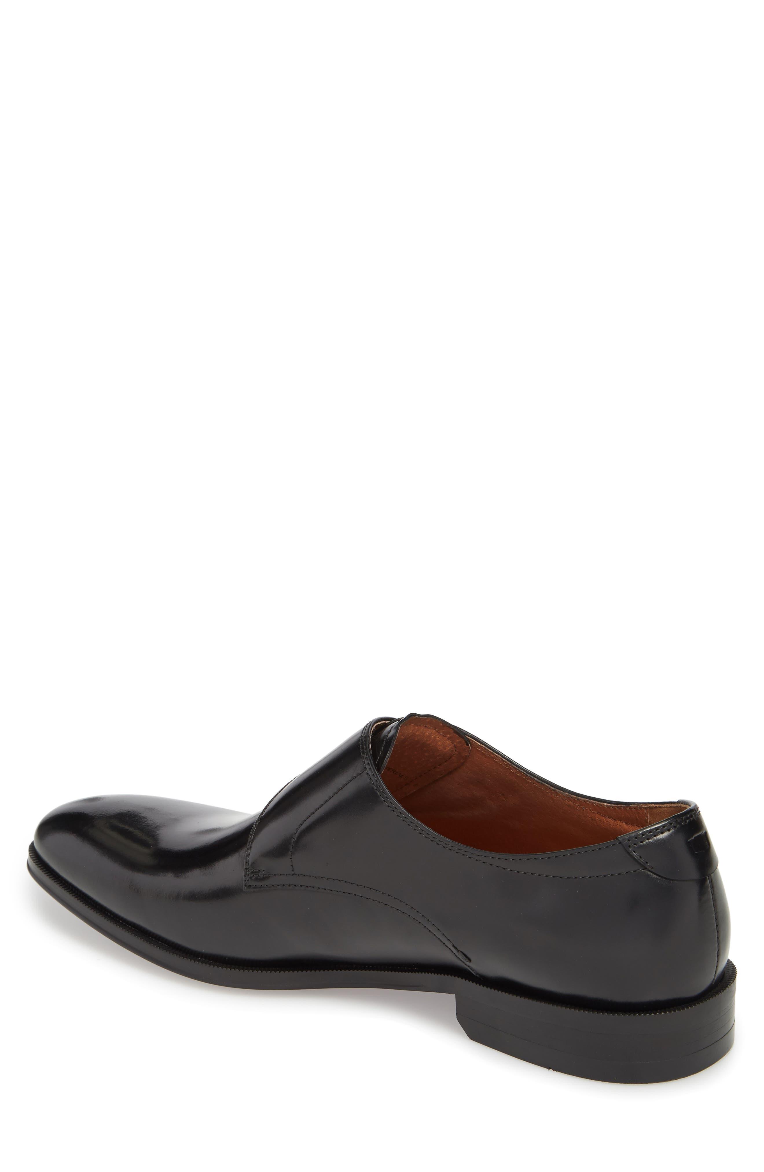 FLORSHEIM, Belfast Single Strap Monk Shoe, Alternate thumbnail 2, color, BLACK LEATHER