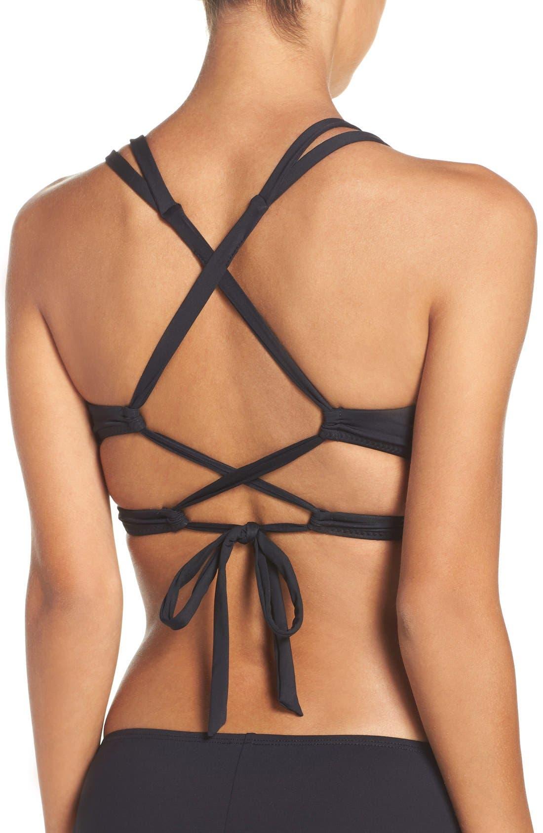 BECCA, Color Code Wrap Bikini Top, Alternate thumbnail 4, color, BLACK