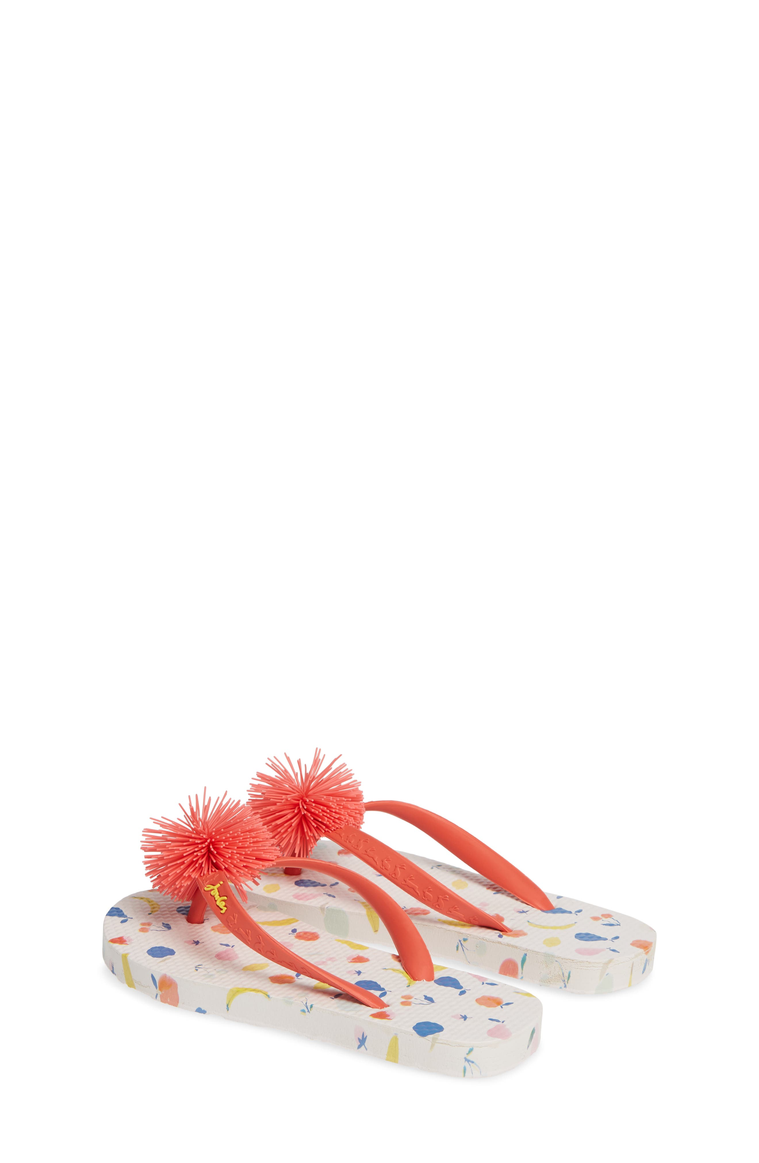 JOULES, Embellished Flip Flop, Alternate thumbnail 3, color, WHITE PETALS