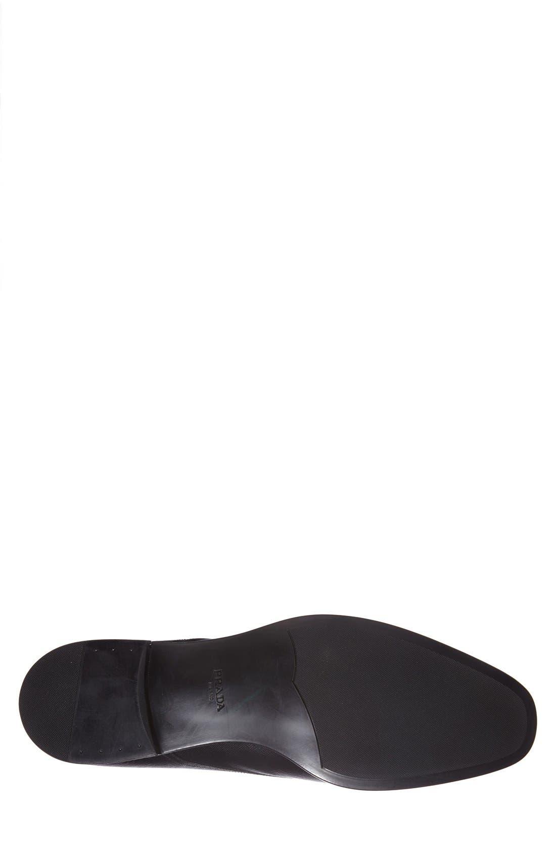 PRADA, Plain Toe Derby, Alternate thumbnail 2, color, BLACK