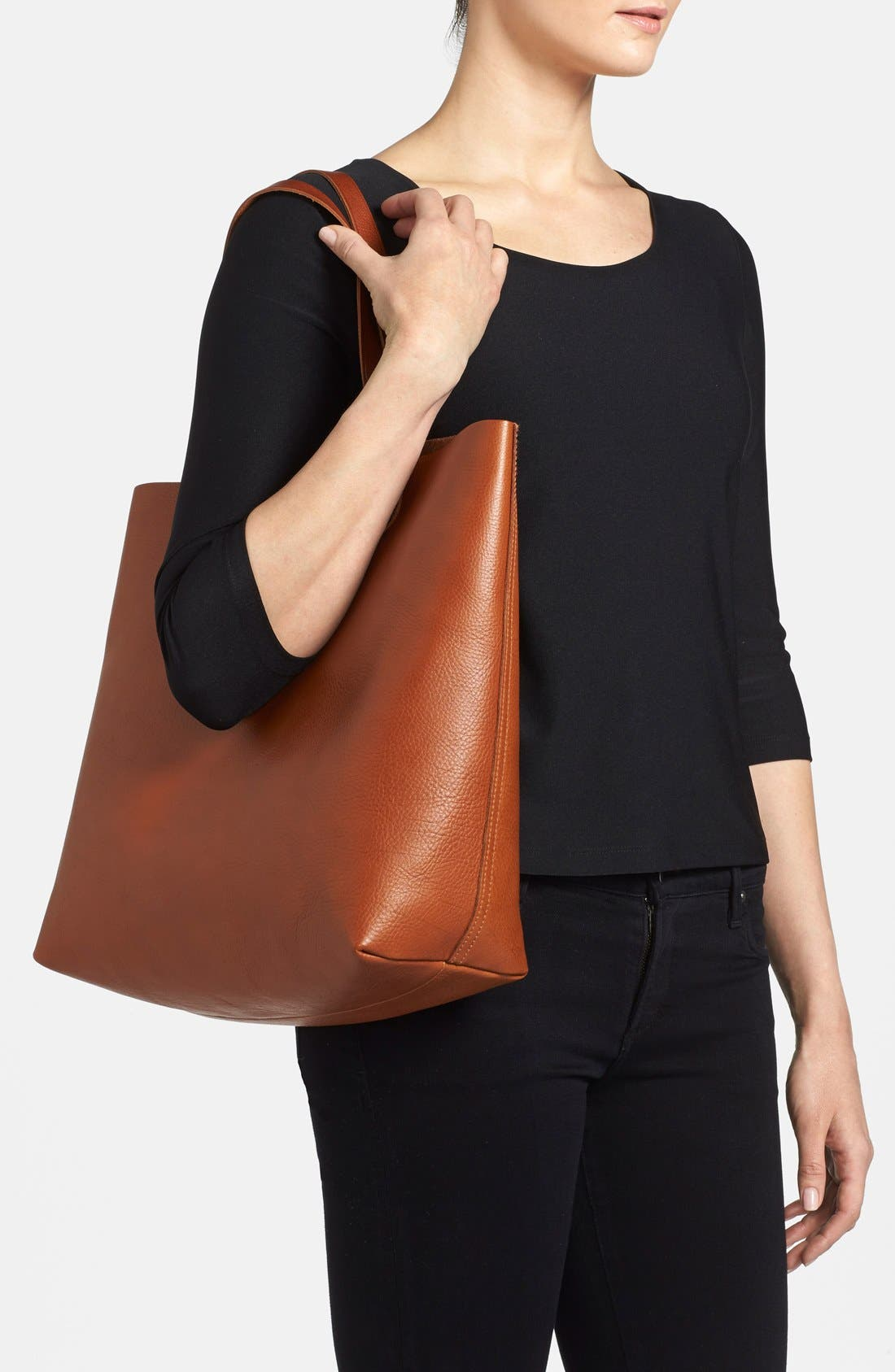 MADEWELL, 'The Transport' Leather Tote, Alternate thumbnail 11, color, ENGLISH SADDLE