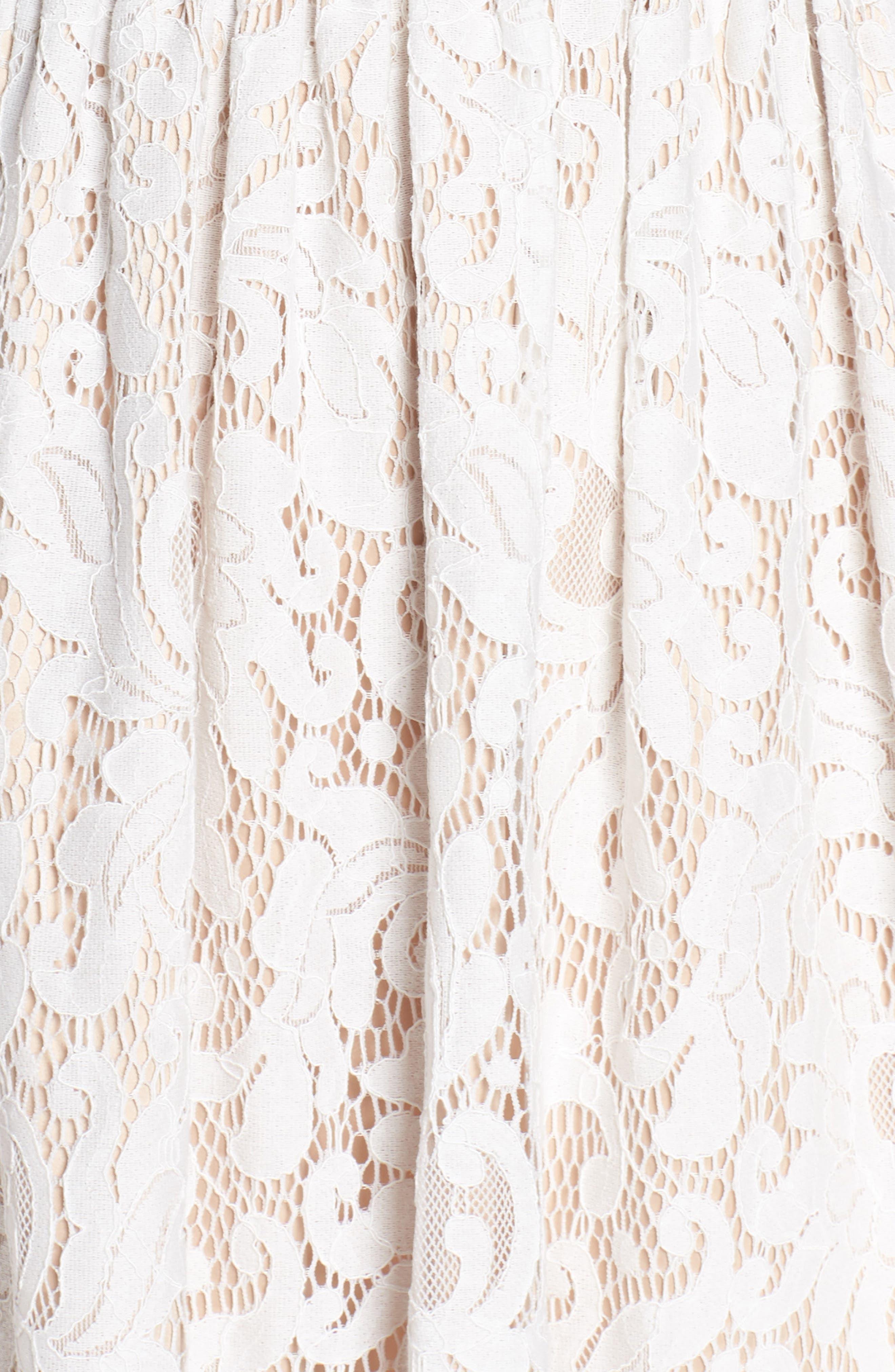 ELIZA J, Lace Fit & Flare Dress, Alternate thumbnail 6, color, IVORY
