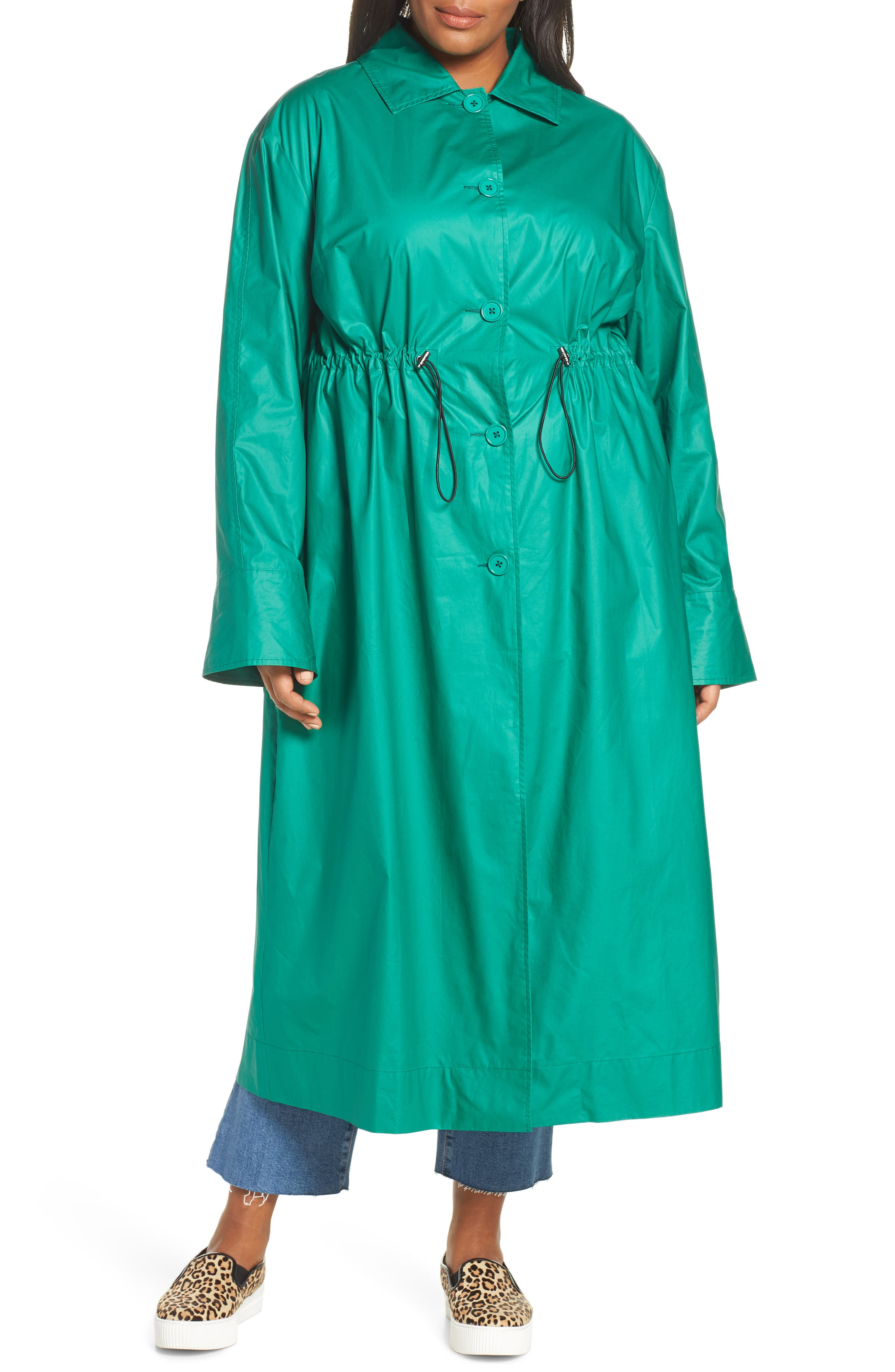 HALOGEN<SUP>®</SUP>, Elongated Cotton Overcoat, Alternate thumbnail 5, color, GREEN ULTRA